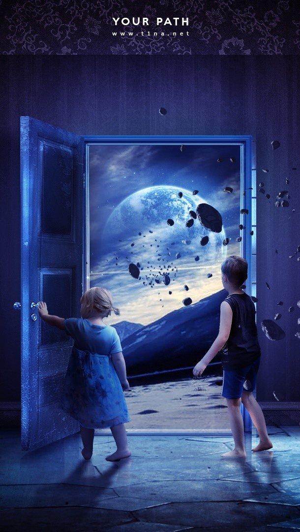 Fondos de pantalla Niños en el espacio Vertical