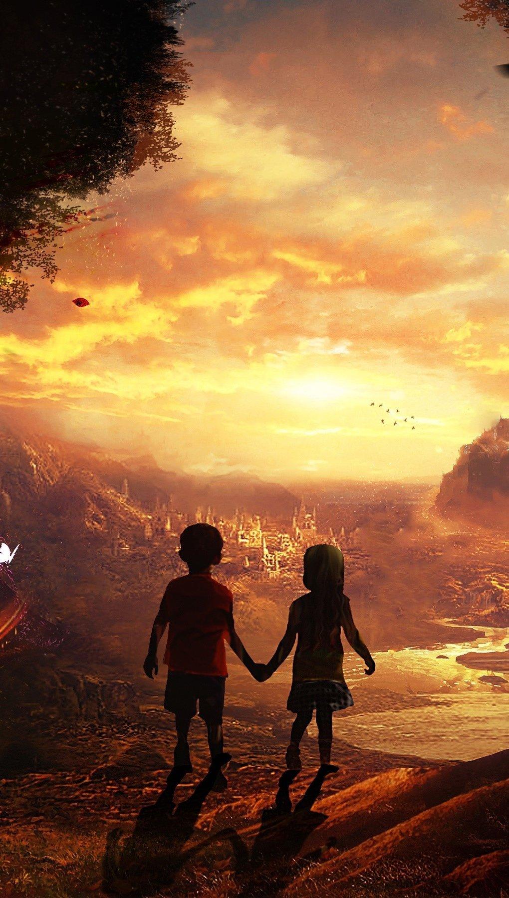 Wallpaper Children in a fairy tale Vertical