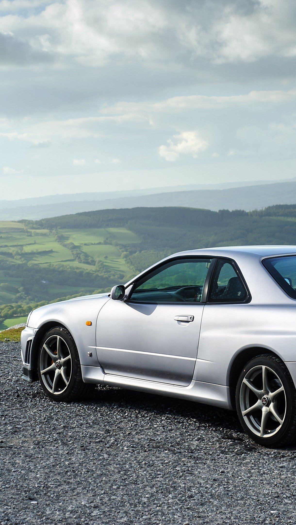 Wallpaper Nissan Skyline GT R gray side Vertical