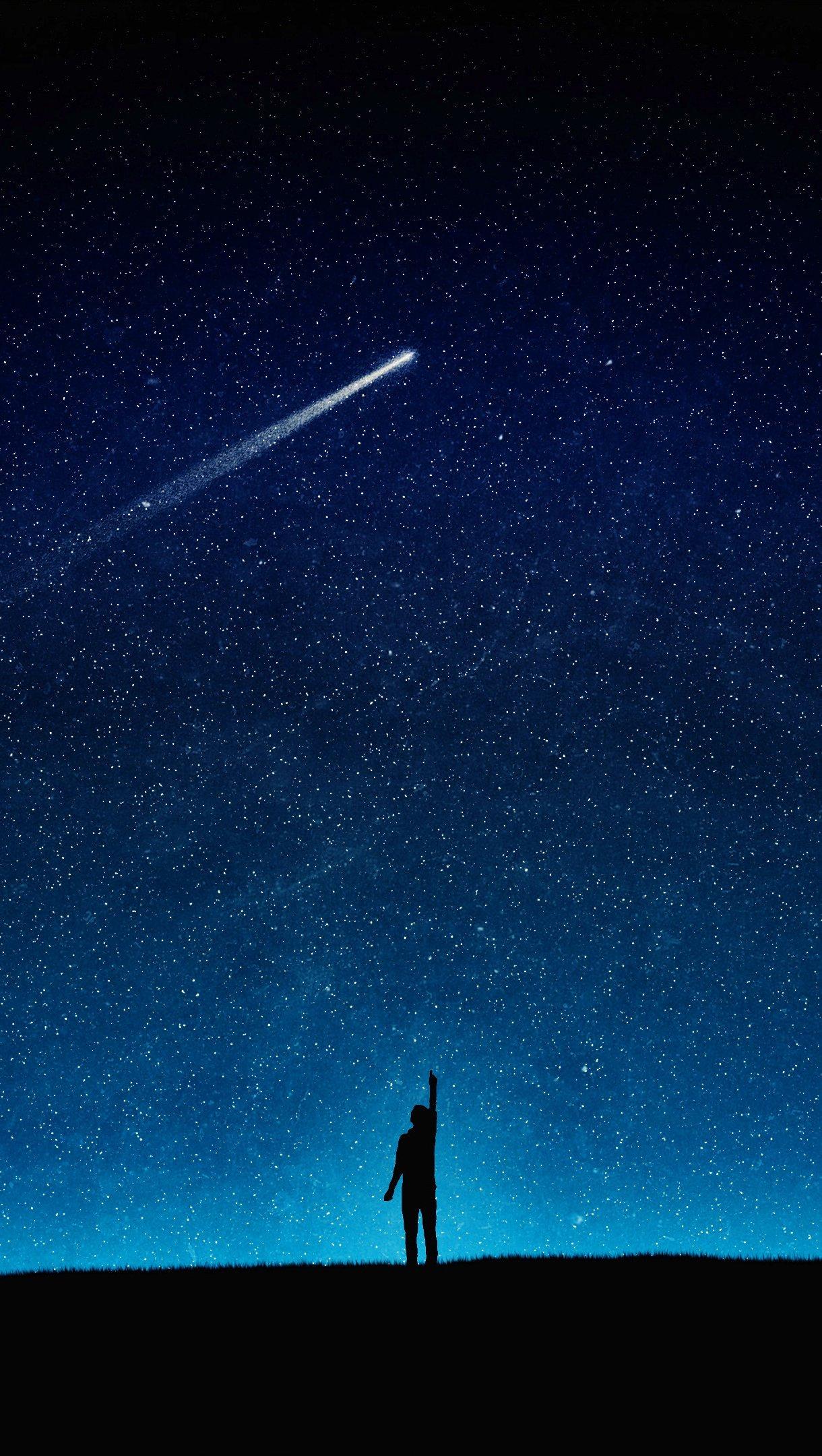 Fondos de pantalla Noche cielo estrellas y cometa Vertical