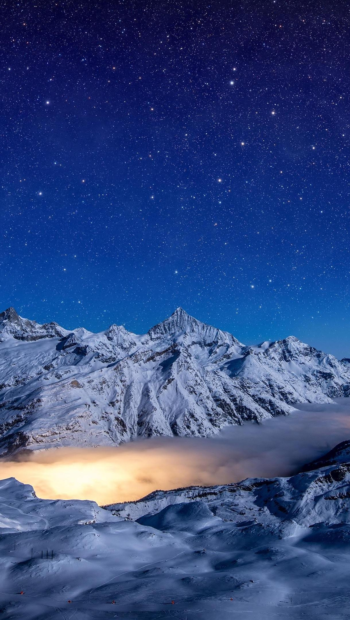 Wallpaper Starry night snow covered mountains Vertical