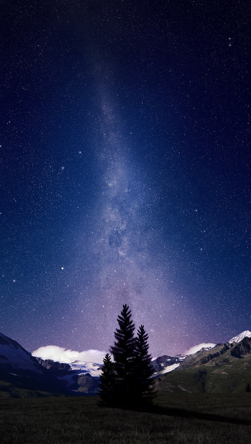 Wallpaper Night in Swiss Alps Vertical