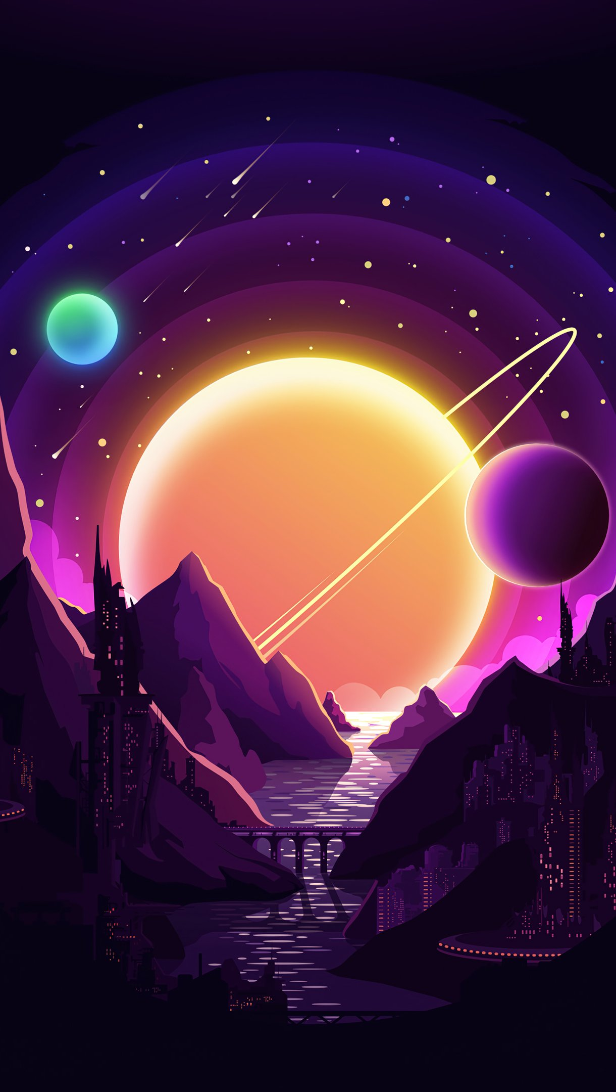 Wallpaper Night in the mountains with planets in the background Vertical