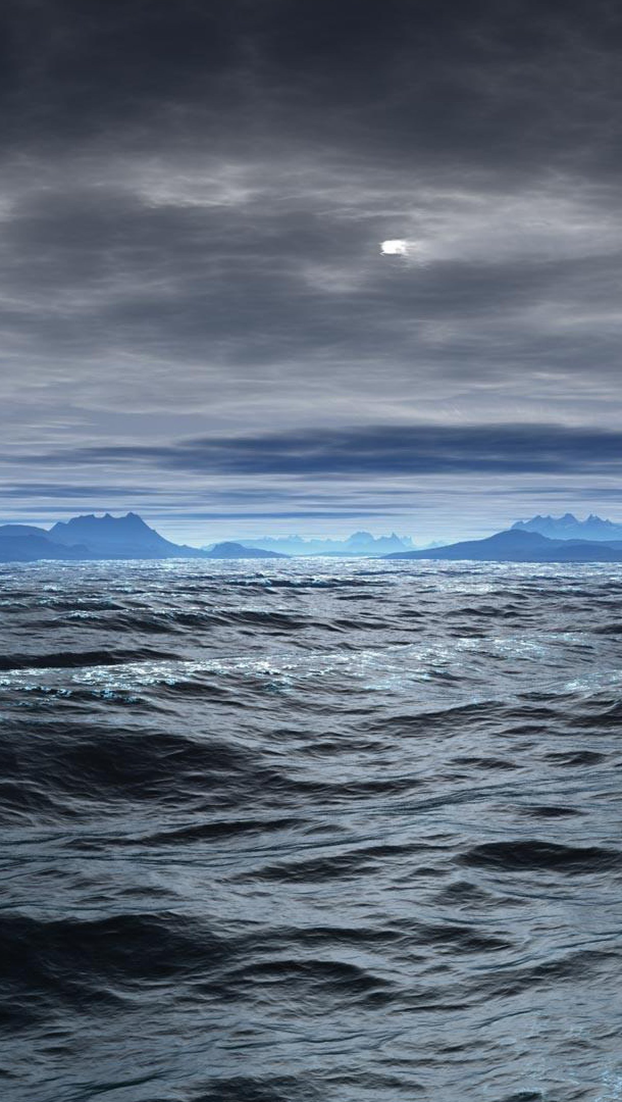 Wallpaper Ocean with storm clouds Vertical