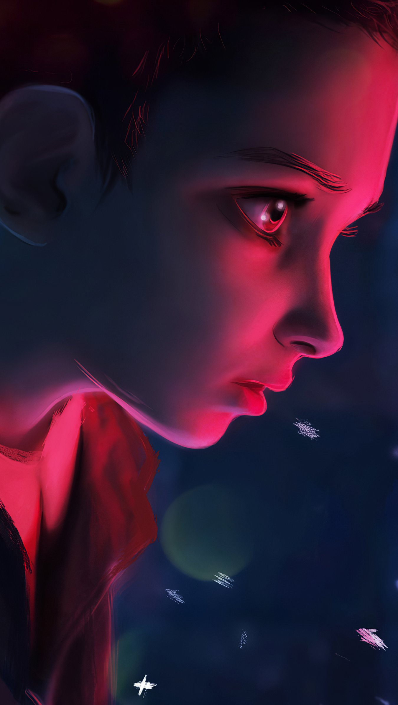 Wallpaper Eleven from Stranger things looking at a light Vertical