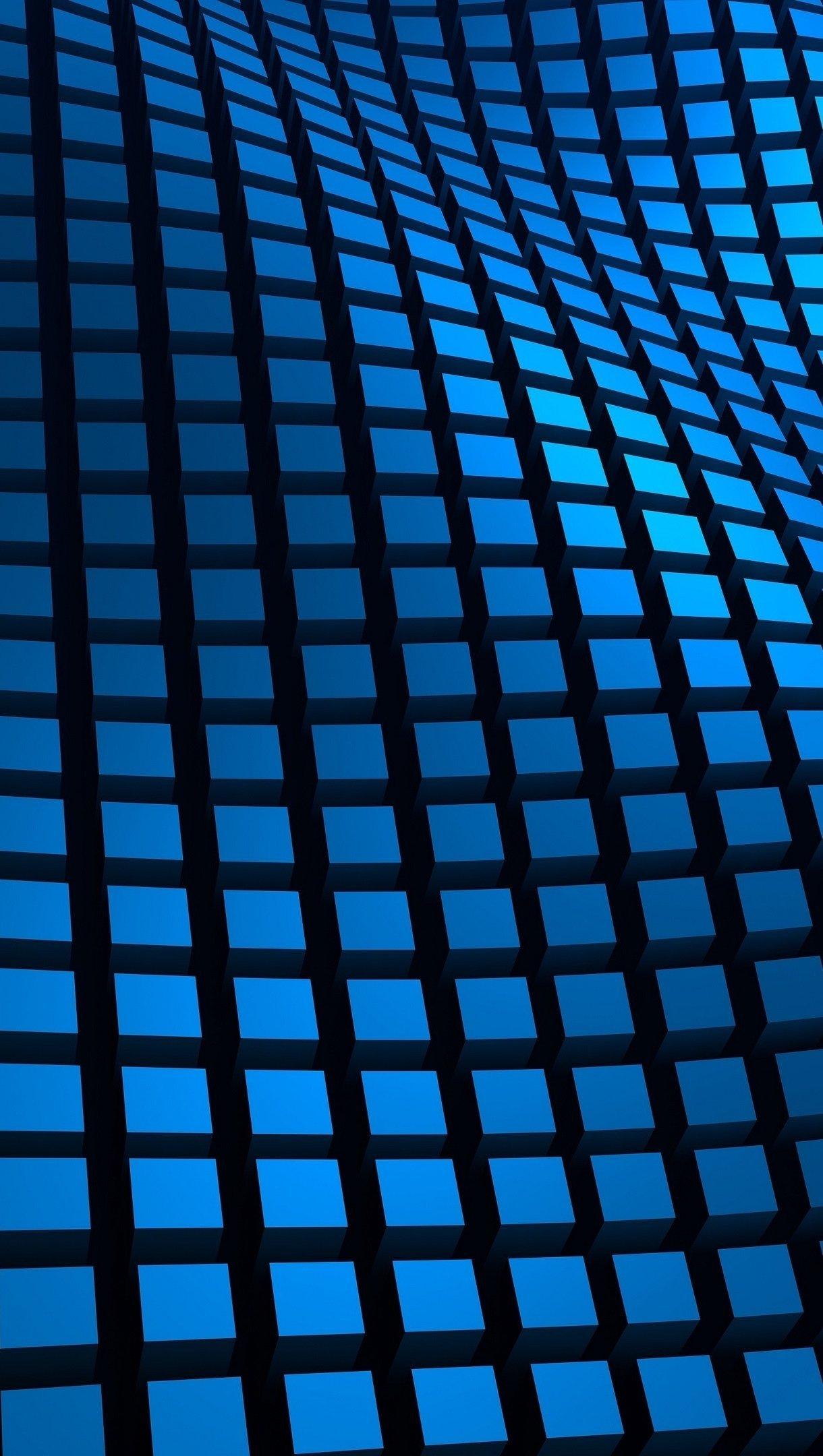 Fondos de pantalla Ondas a cuadros azules 3D Vertical