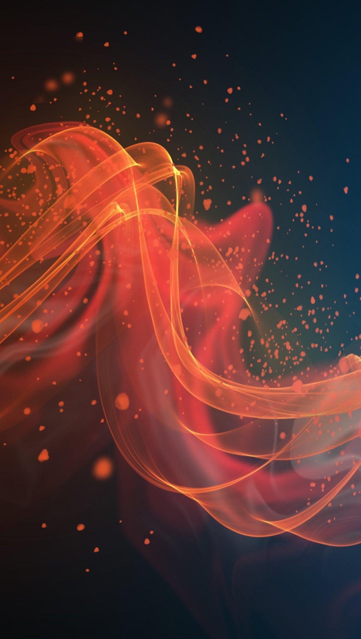 Fondos de pantalla Ondas naranjas abstractas Vertical