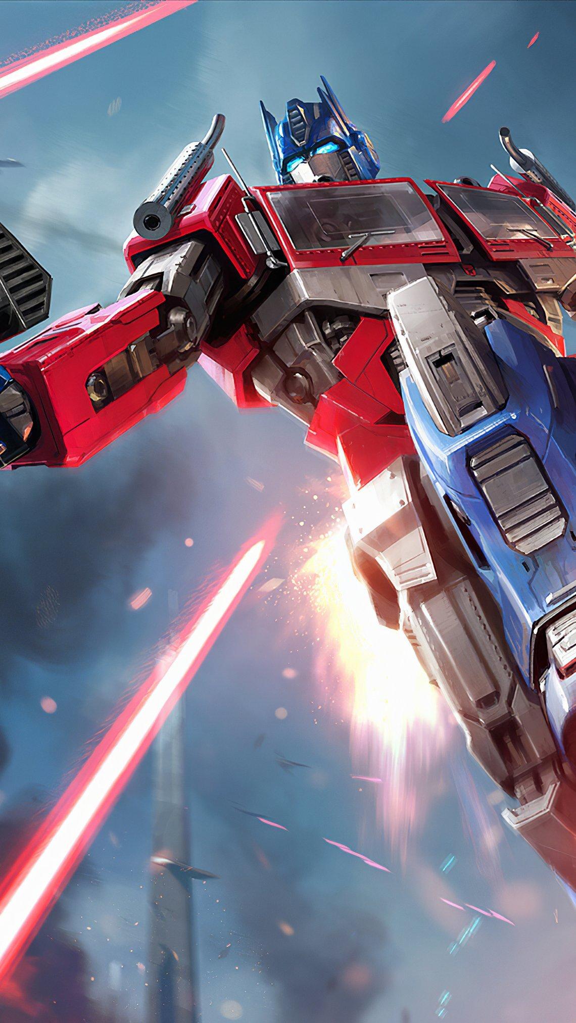 Wallpaper Optimus Prime peleando Vertical