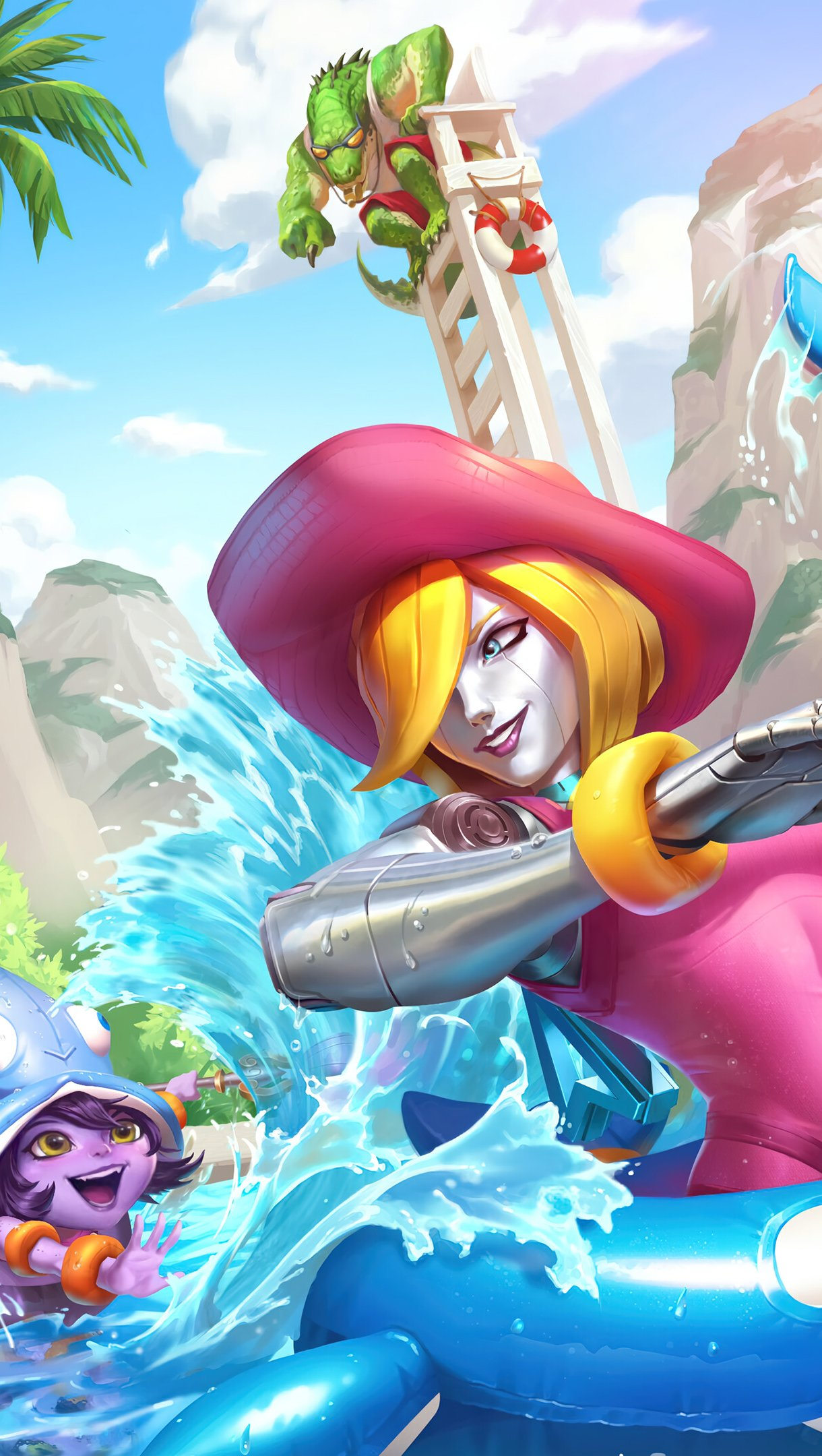 Wallpaper Oriana and Lulu League of Legends Rift Pool Party Vertical