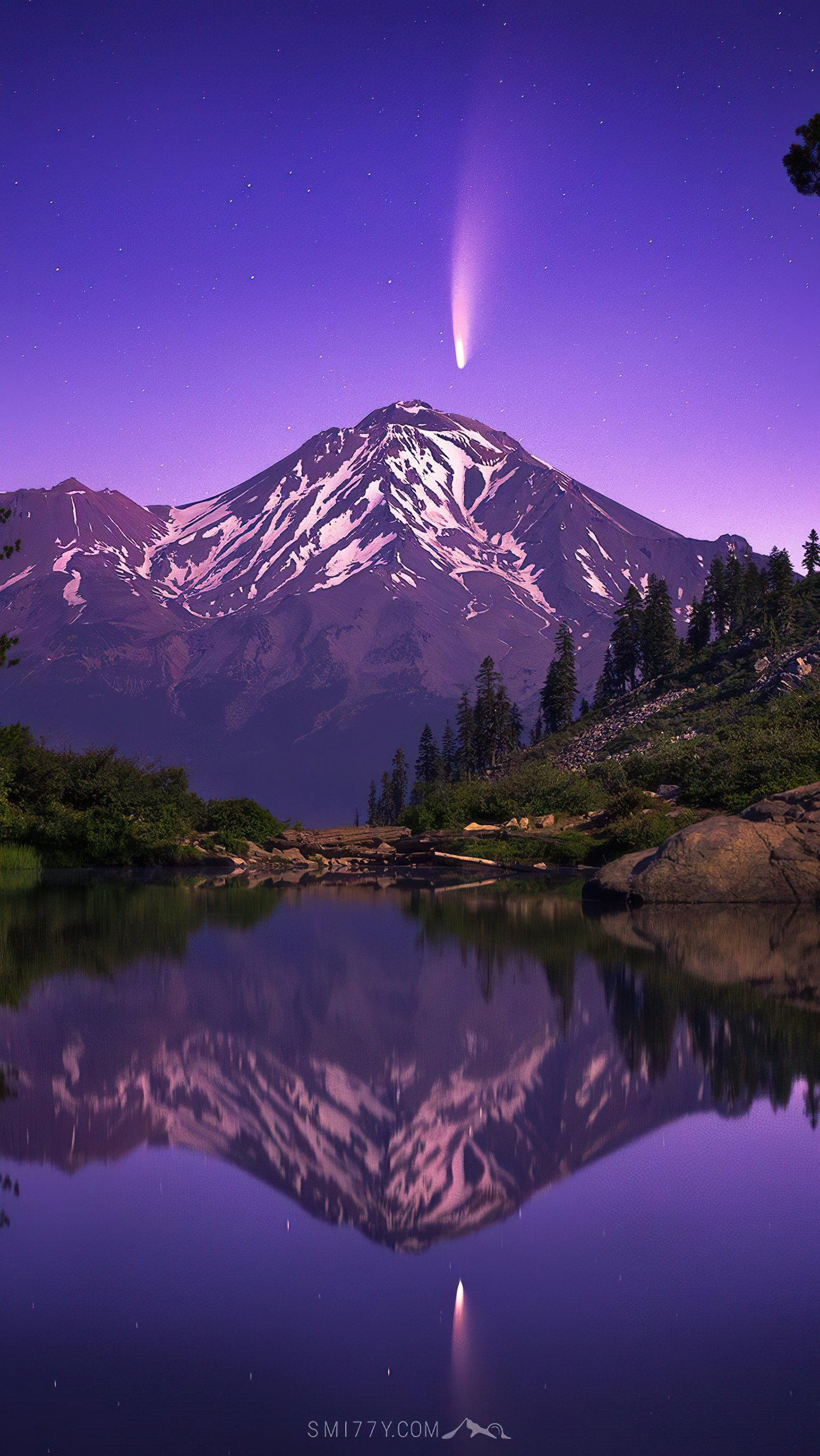 Wallpaper Landscape of forest with mountains and lake Vertical