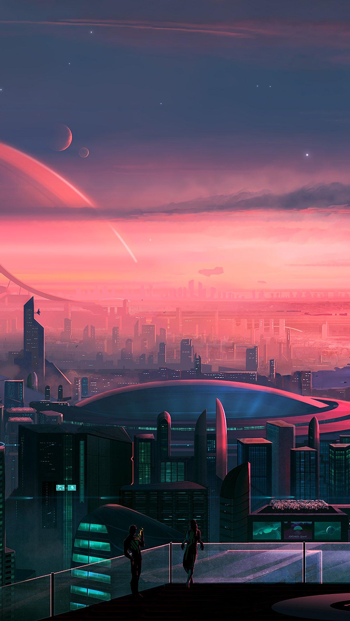Wallpaper Scifi city scenery artwork Vertical