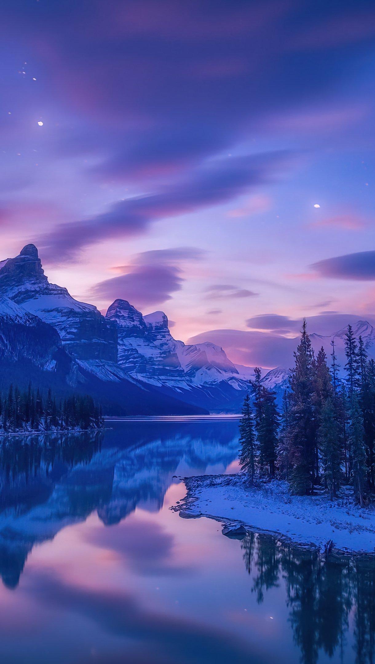 Fondos de pantalla Paisaje de lago en las montañas al amanecer Vertical