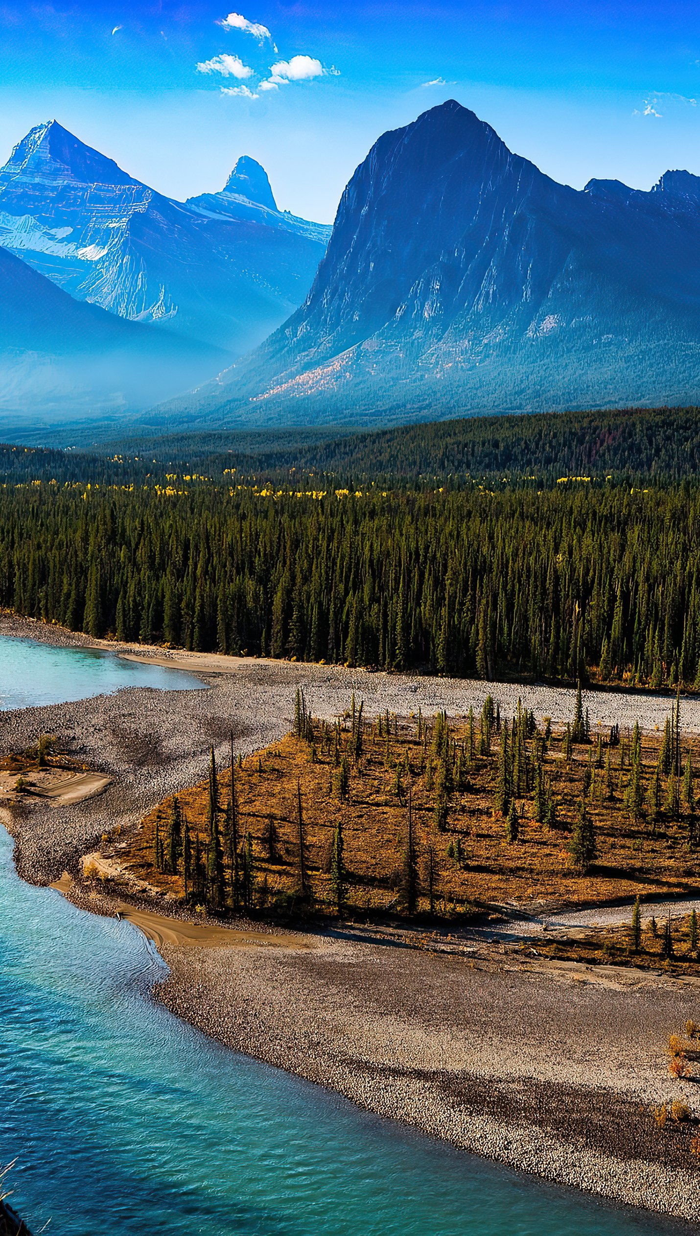 Wallpaper Landscape of mountains in forest with river Vertical