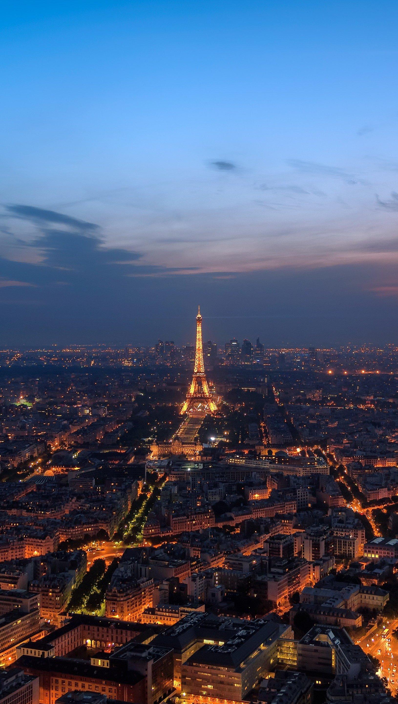 Fondos de pantalla Paisaje de Paris en la noche Vertical