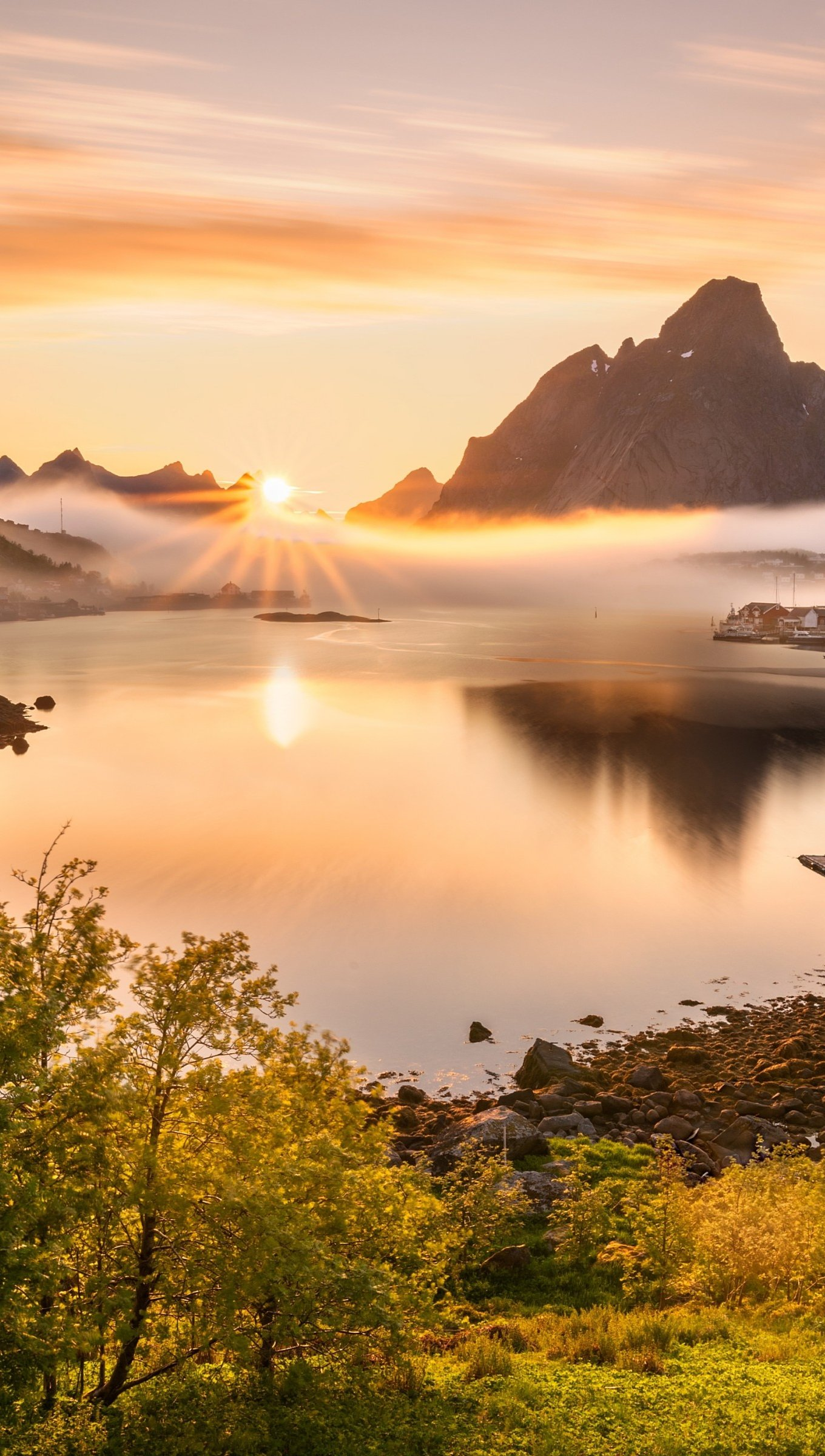 Wallpaper Norway Scenery Mountains at sunset Vertical