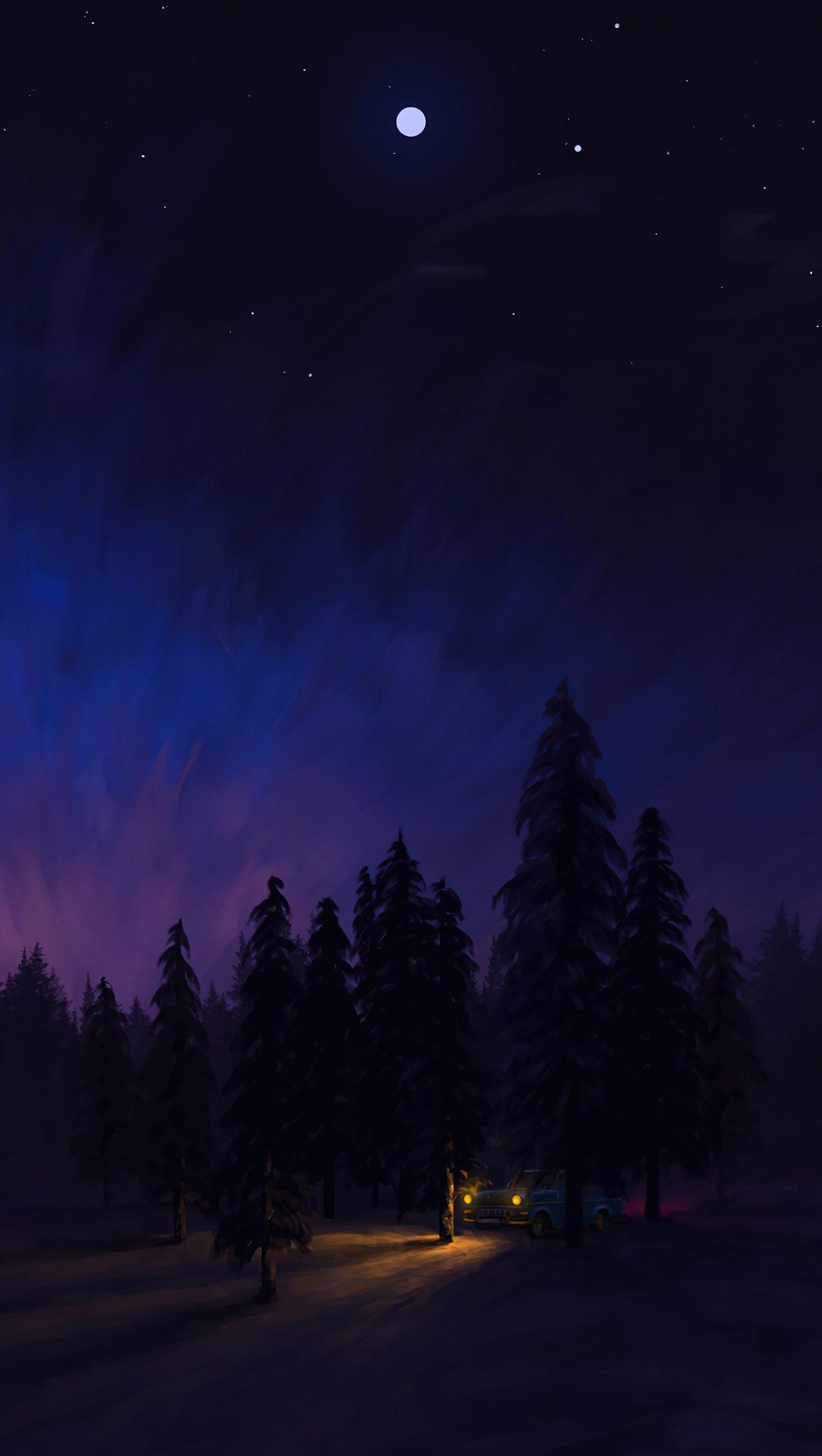 Fondos de pantalla Paisaje nocturno en el bosque Arte digital Vertical