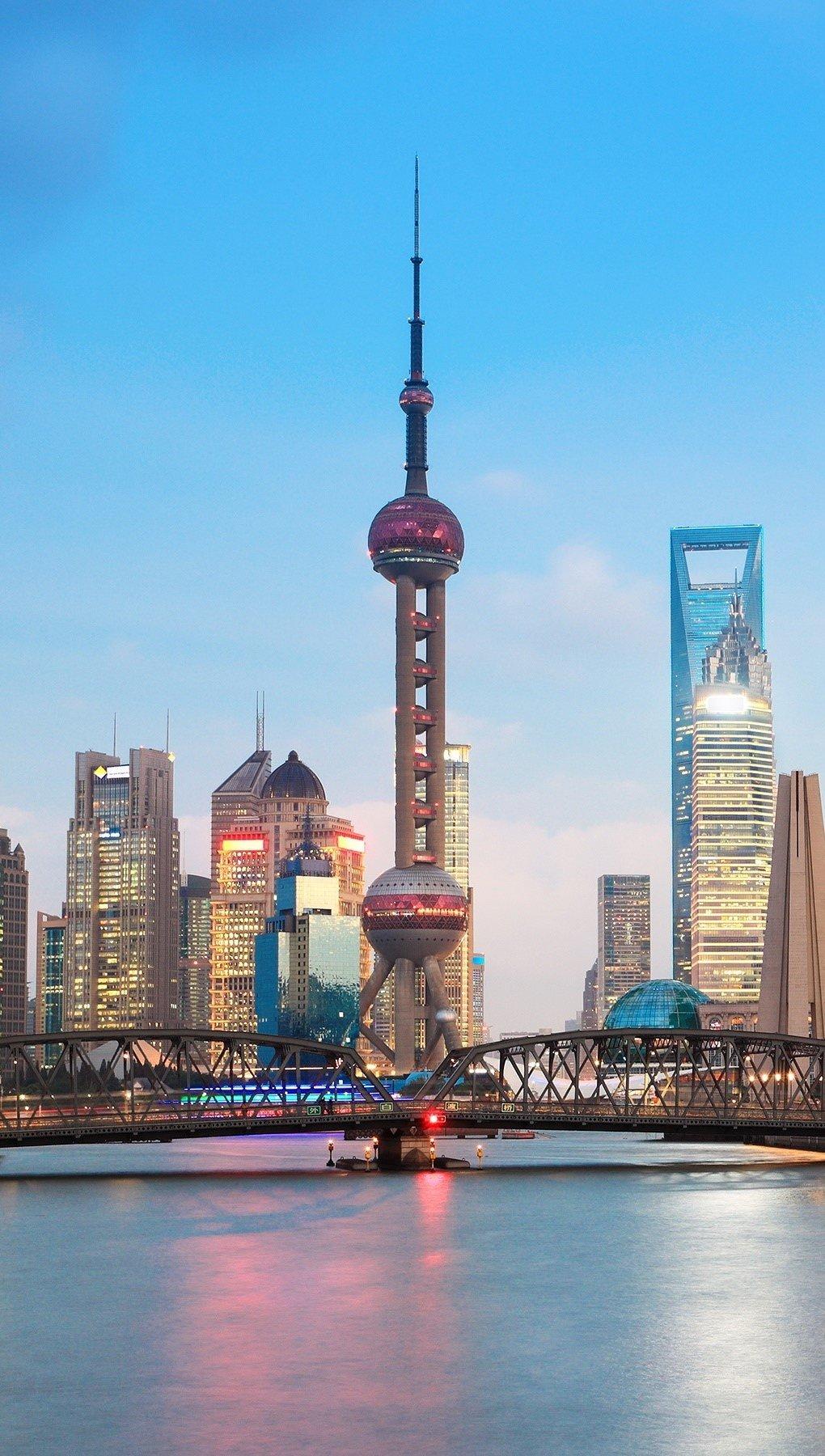 Wallpaper Cityscape in Shanghai Vertical