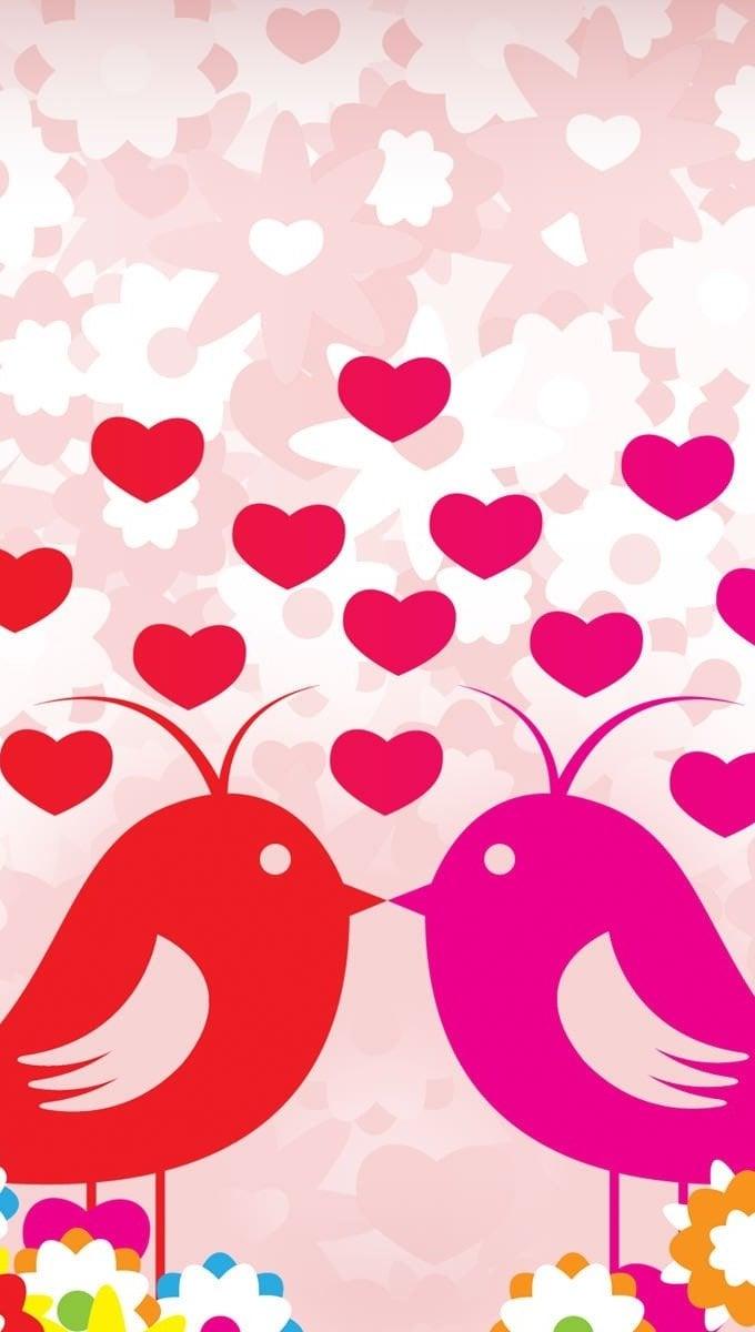 Wallpaper Pajaritos in love Vertical
