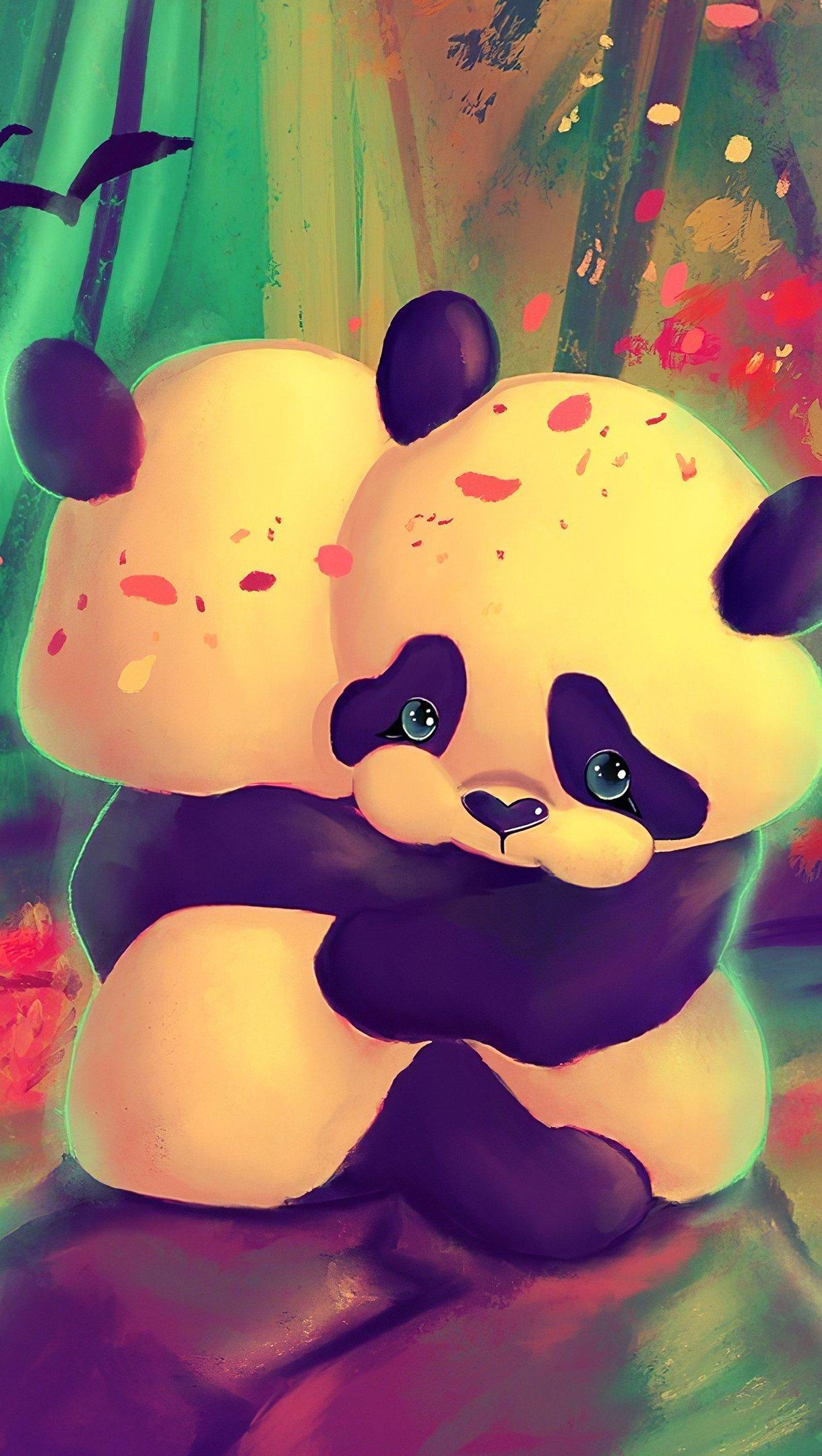 Fondos de pantalla Pandas abrazados Vertical