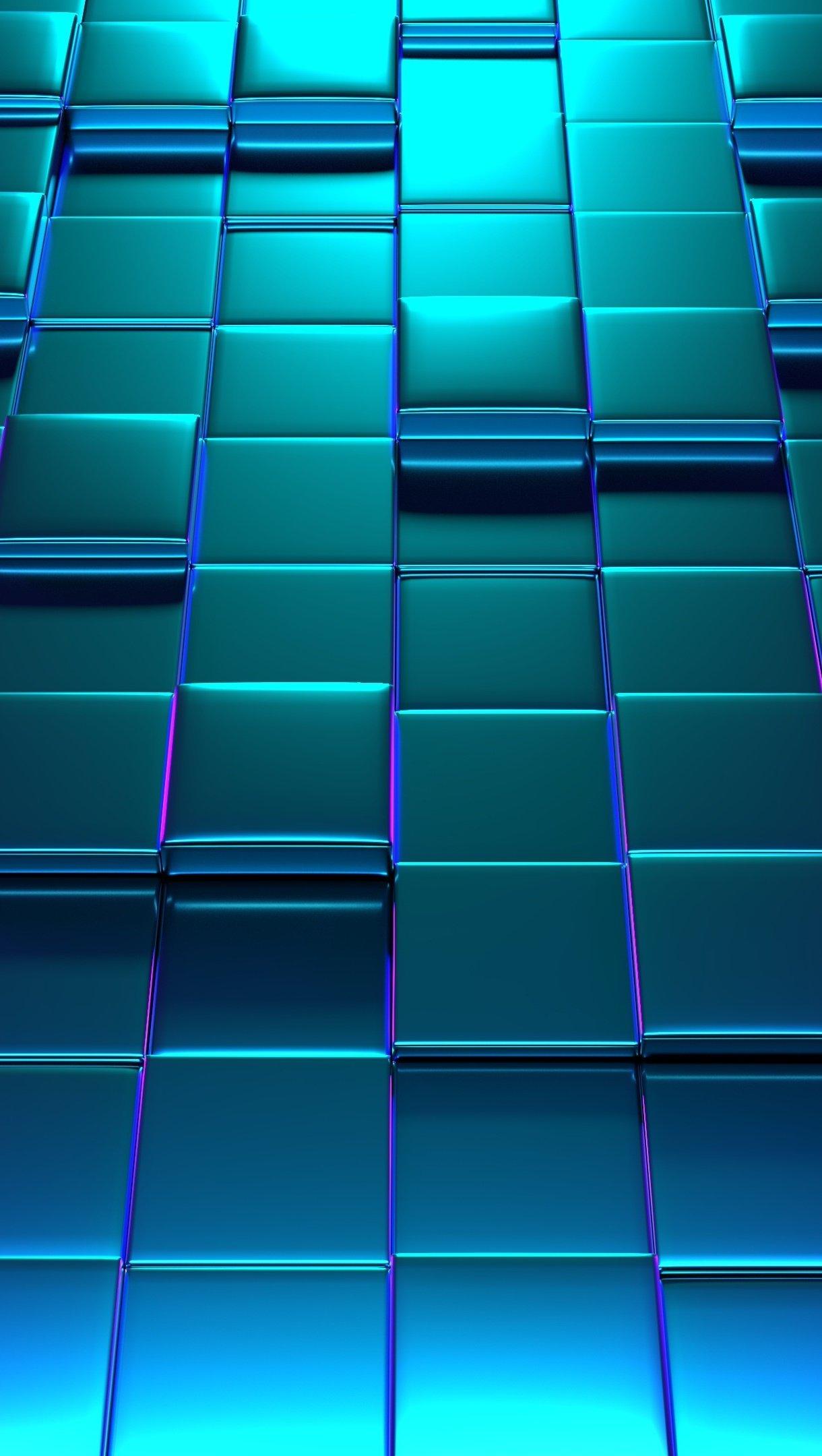 Fondos de pantalla Patrón de cubos 3D iluminación neón Vertical