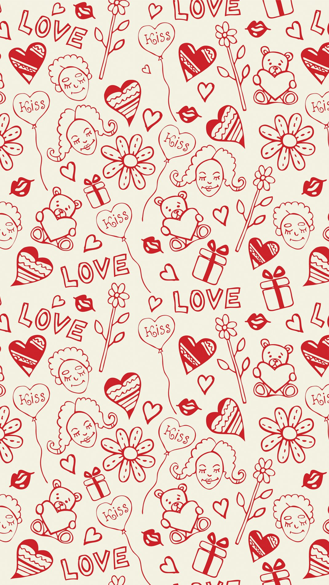 Wallpaper Design pattern about hearts, balloons, flowers, kisses, bears and gifts Vertical
