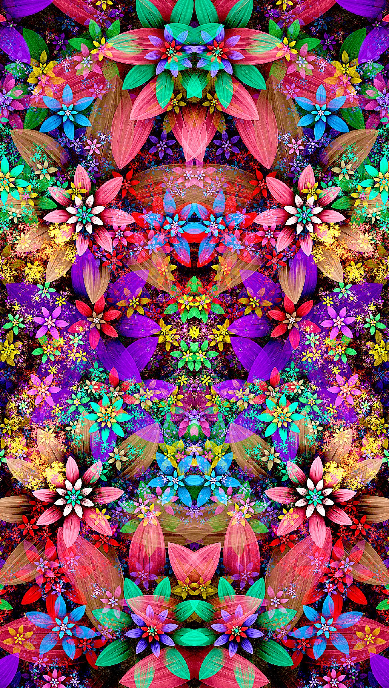 Wallpaper Flower Pattern of colors Vertical