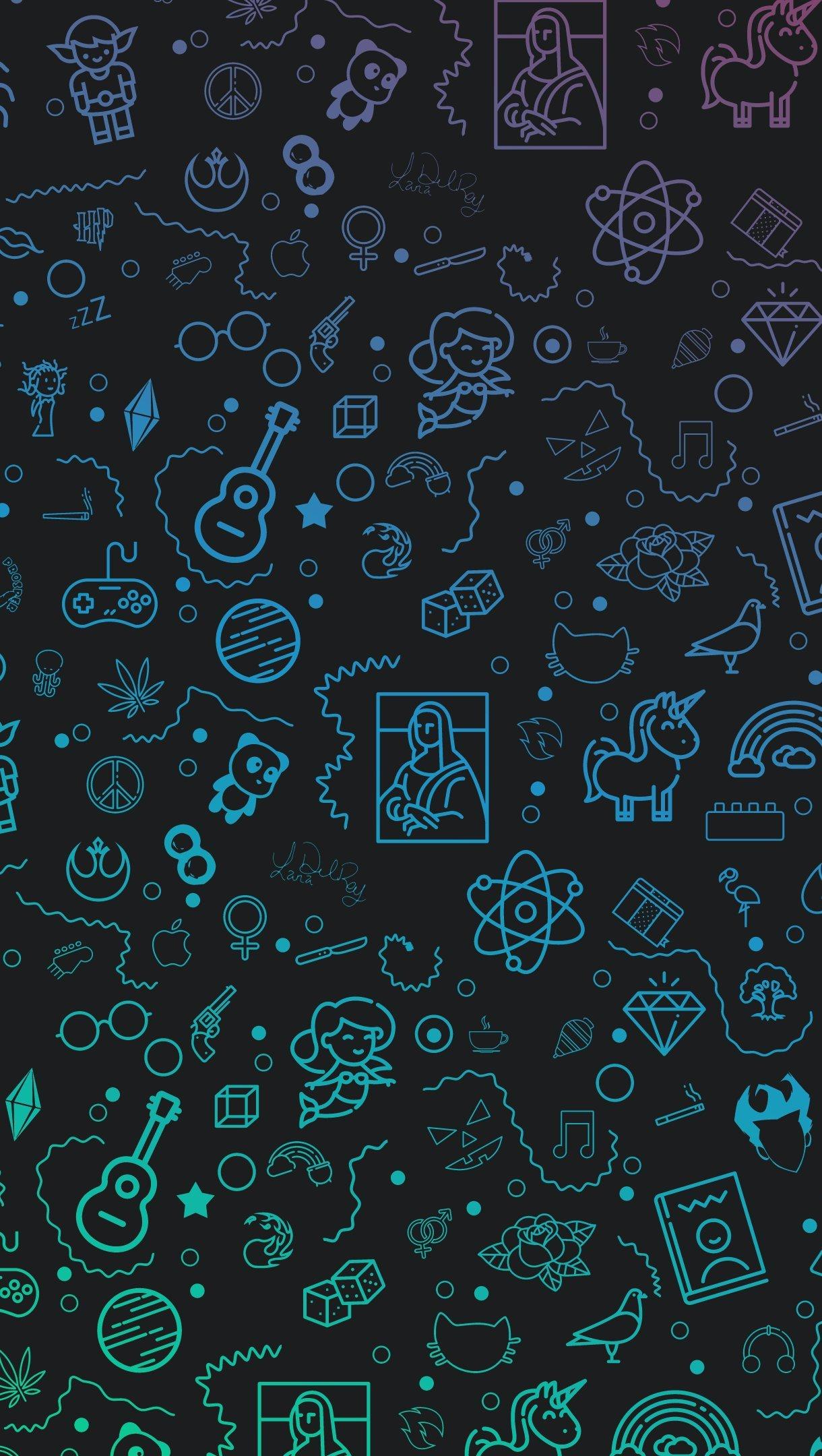 Fondos de pantalla Patrones con ilustraciones neon Vertical