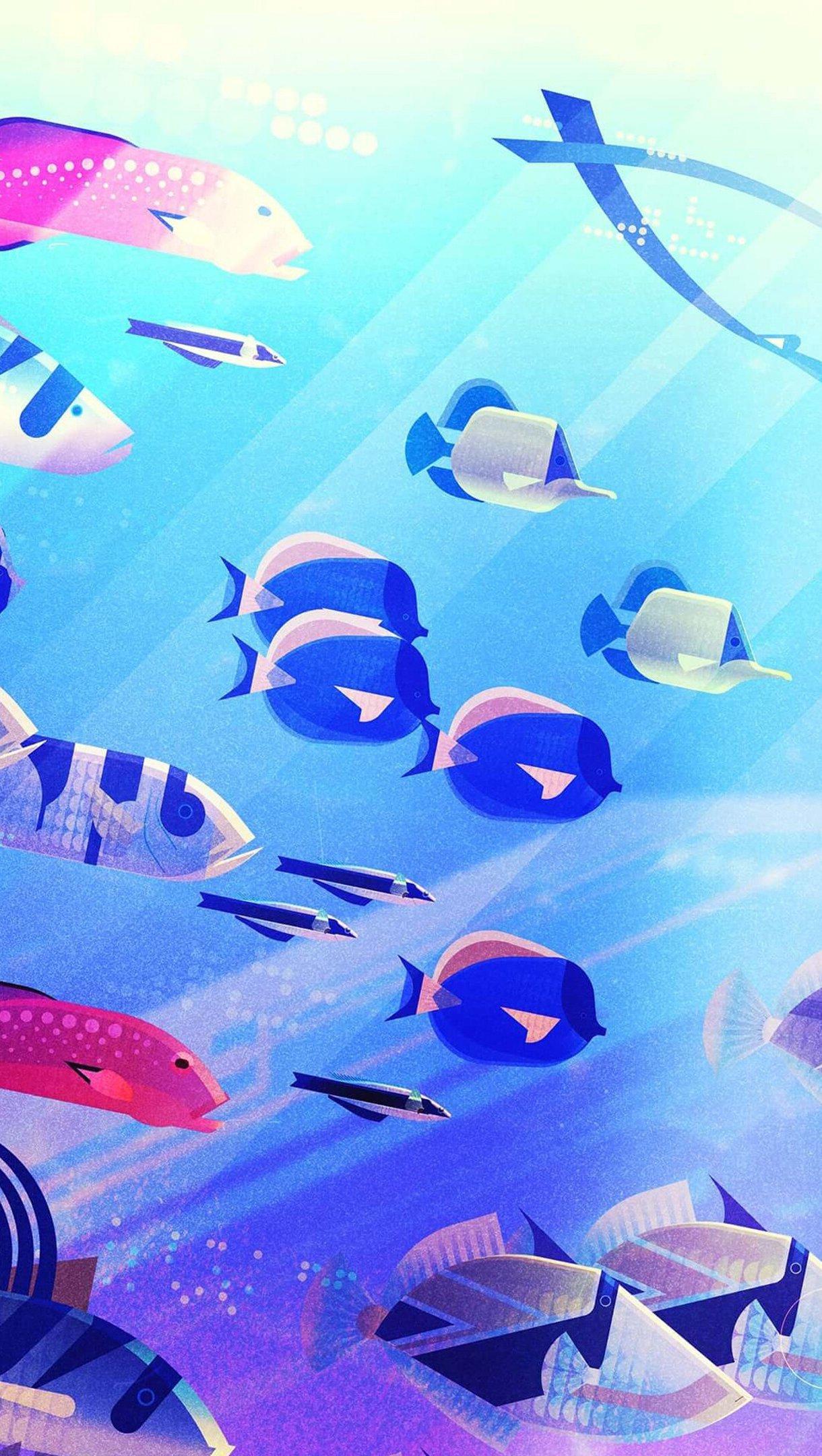 Fondos de pantalla Peces debajo del agua en arte digital Vertical