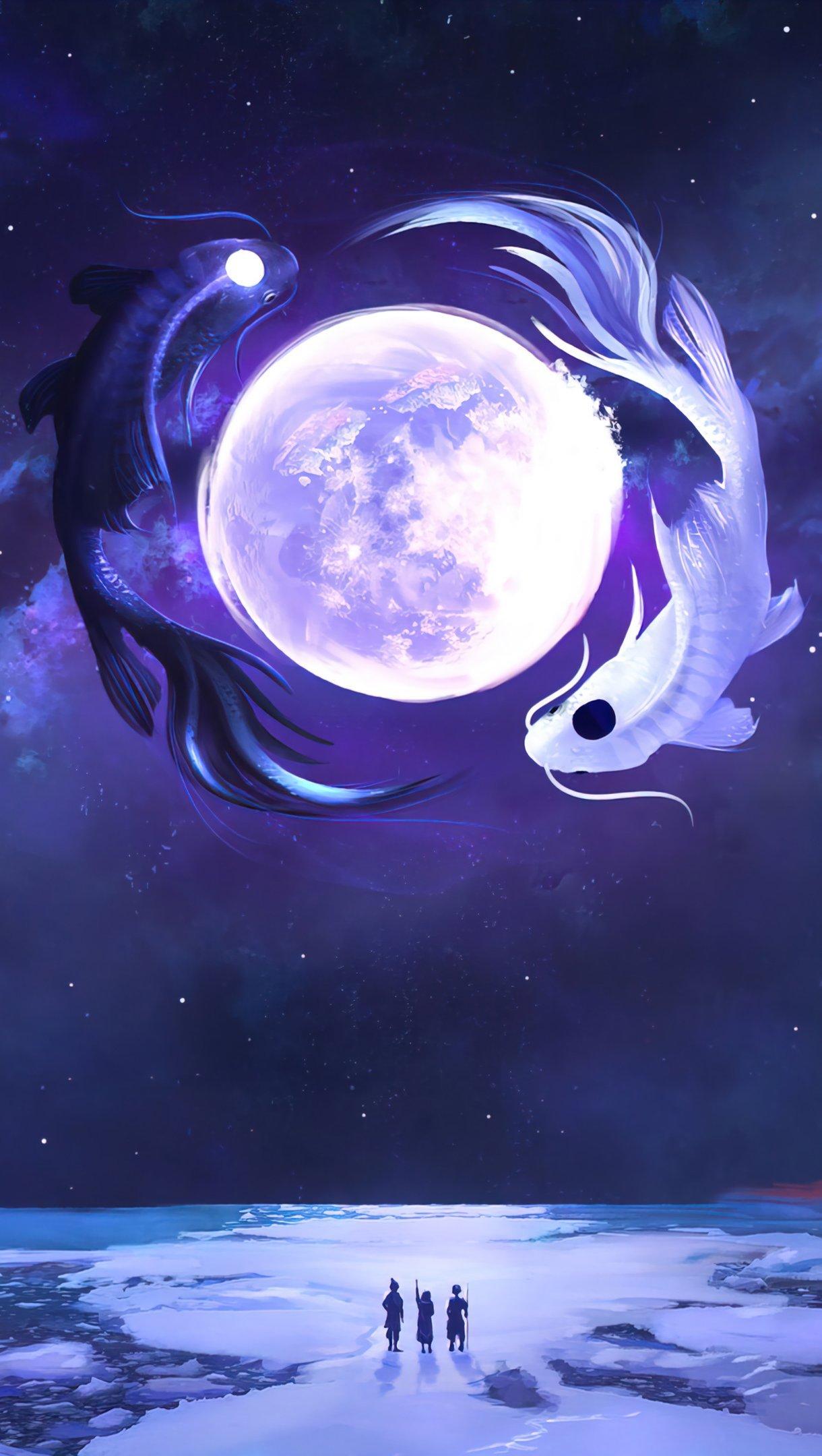 Wallpaper Koi fish at moonlight Vertical
