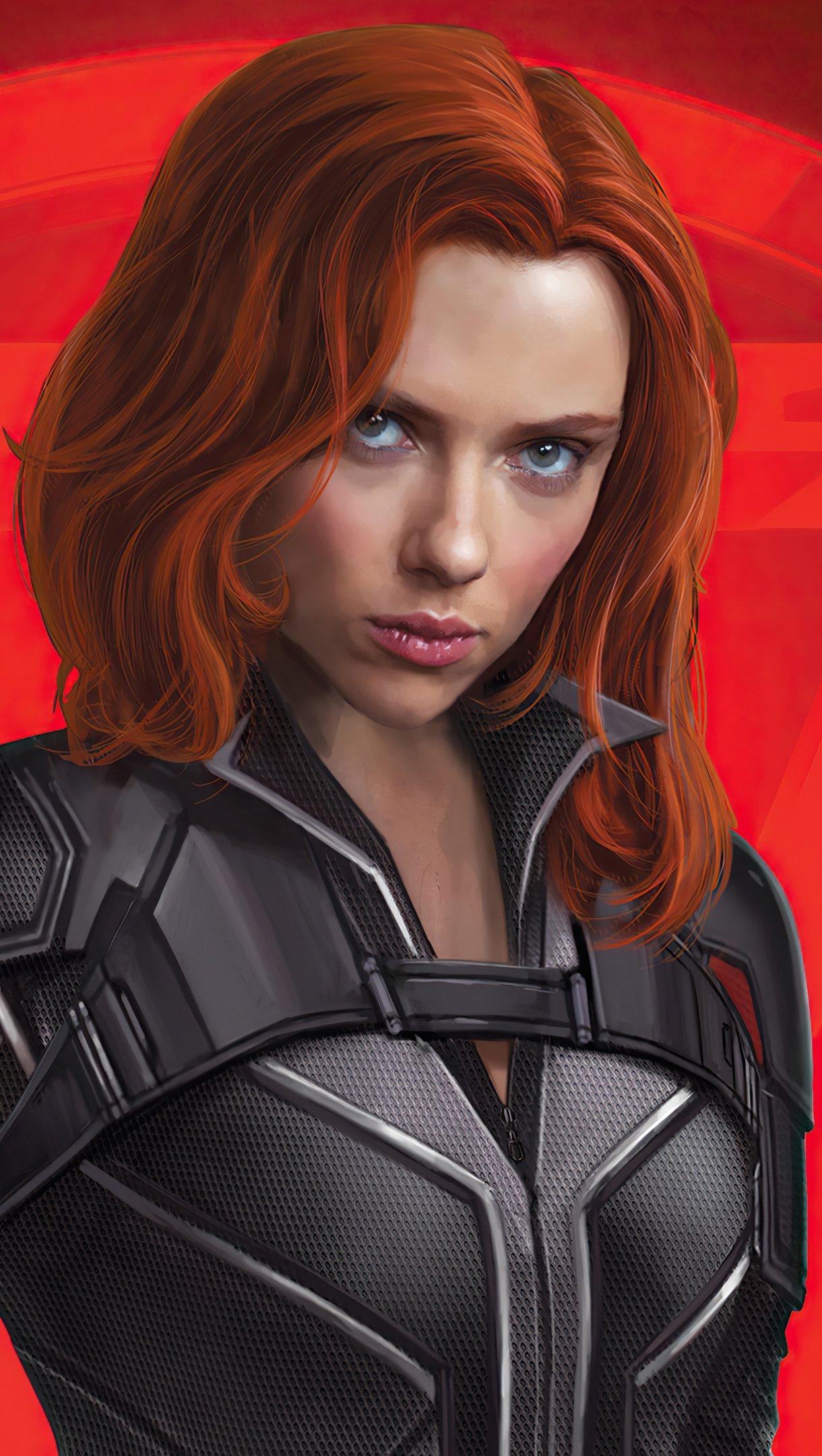 Wallpaper Black Widow Movie Art Vertical