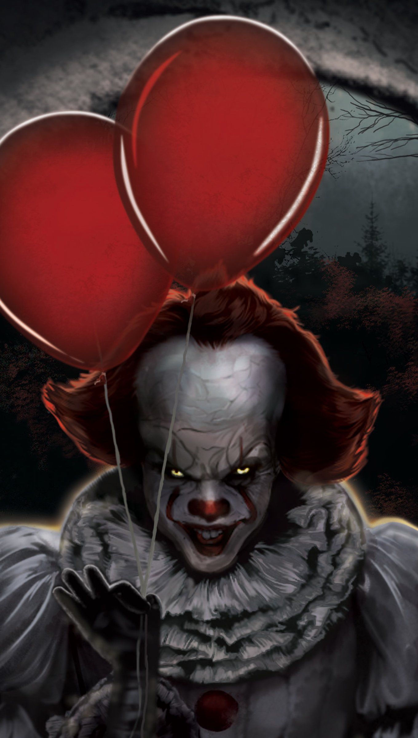 Wallpaper Pennywise with ballons fanart Vertical