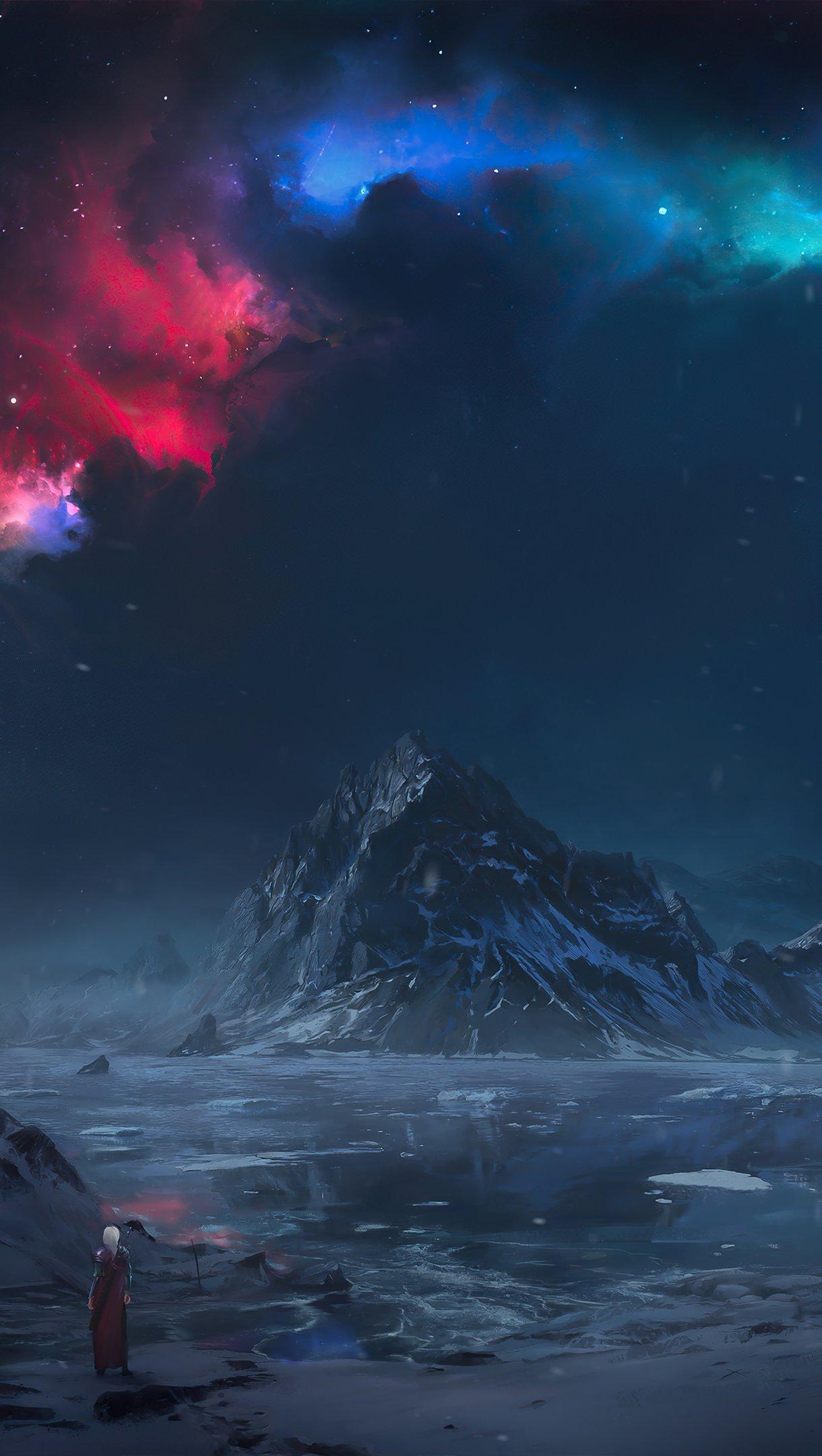 Fondos de pantalla Persona viendo paisaje de torre en las montañas Artwork Vertical