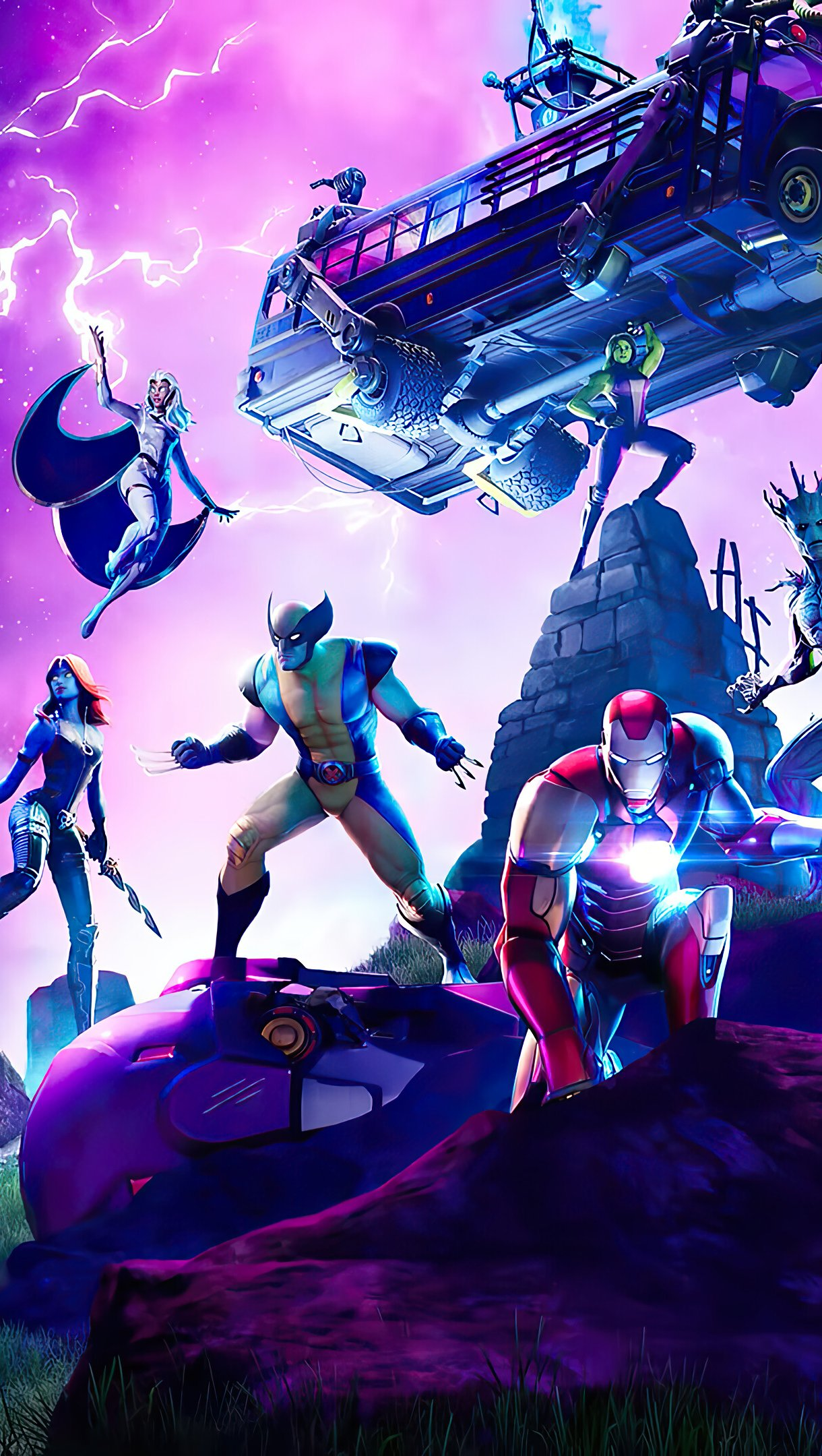 Wallpaper Marvel Charaters in Fortnite Vertical