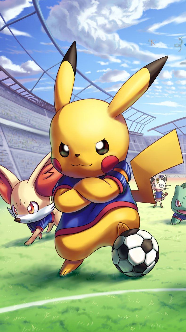 Anime Wallpaper Charachters from Pokemon playing soccer Vertical