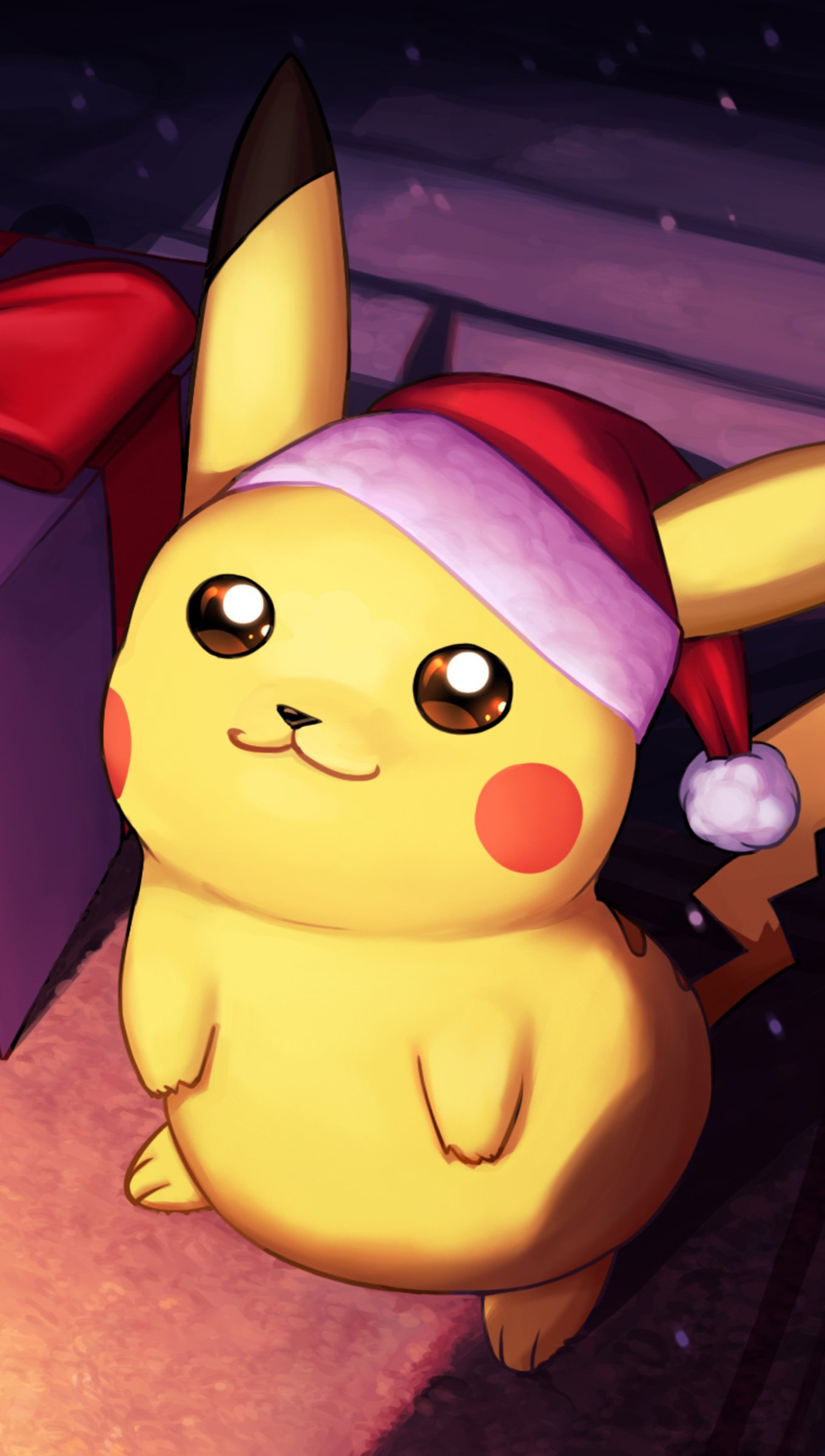 Wallpaper Pikachu on christmas day Vertical
