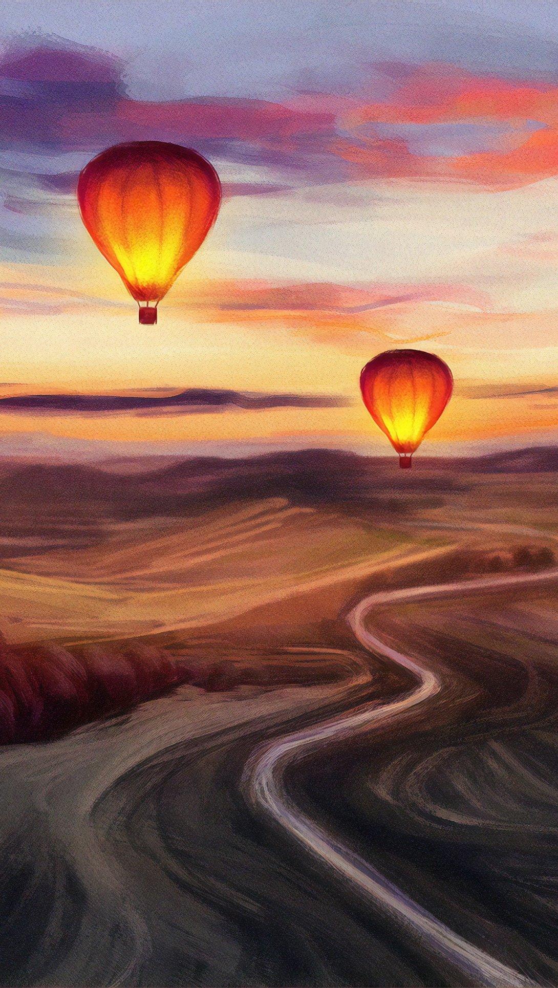 Fondos de pantalla Pintura de globos aerostáticos Vertical