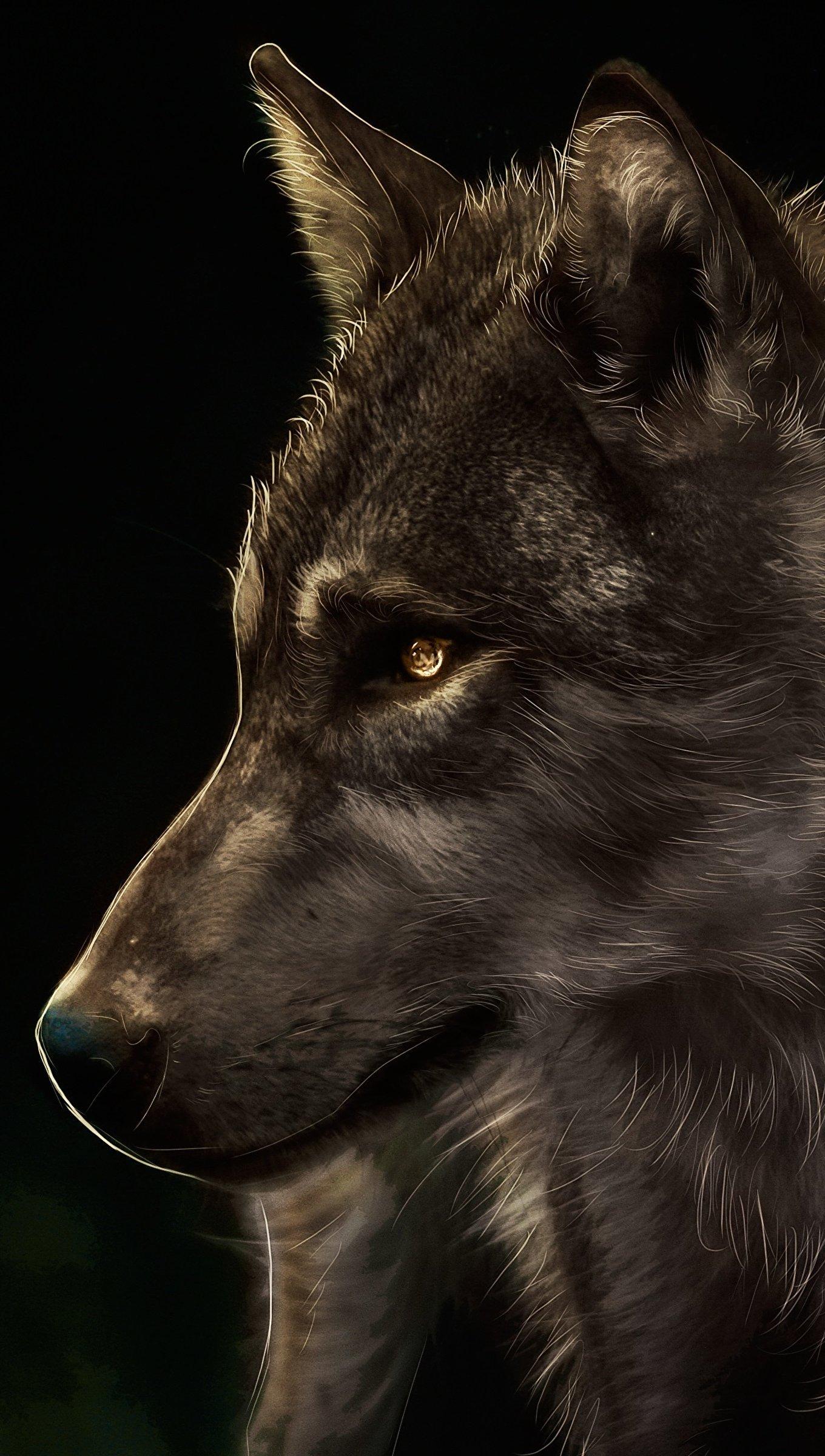 Fondos de pantalla Pintura de Lobo en fondo negro Vertical