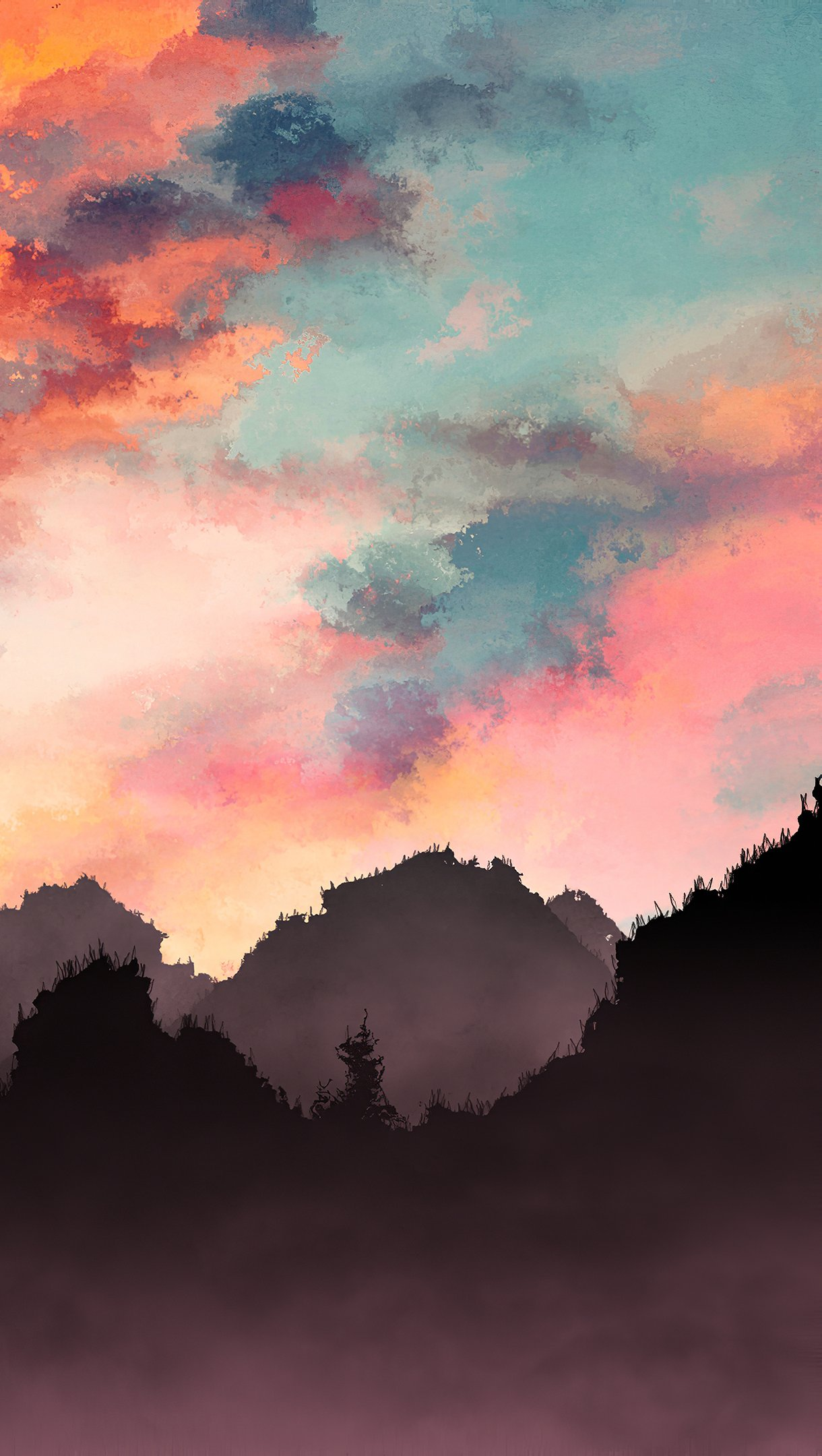 Wallpaper Mountains painting with mist at sunset Vertical