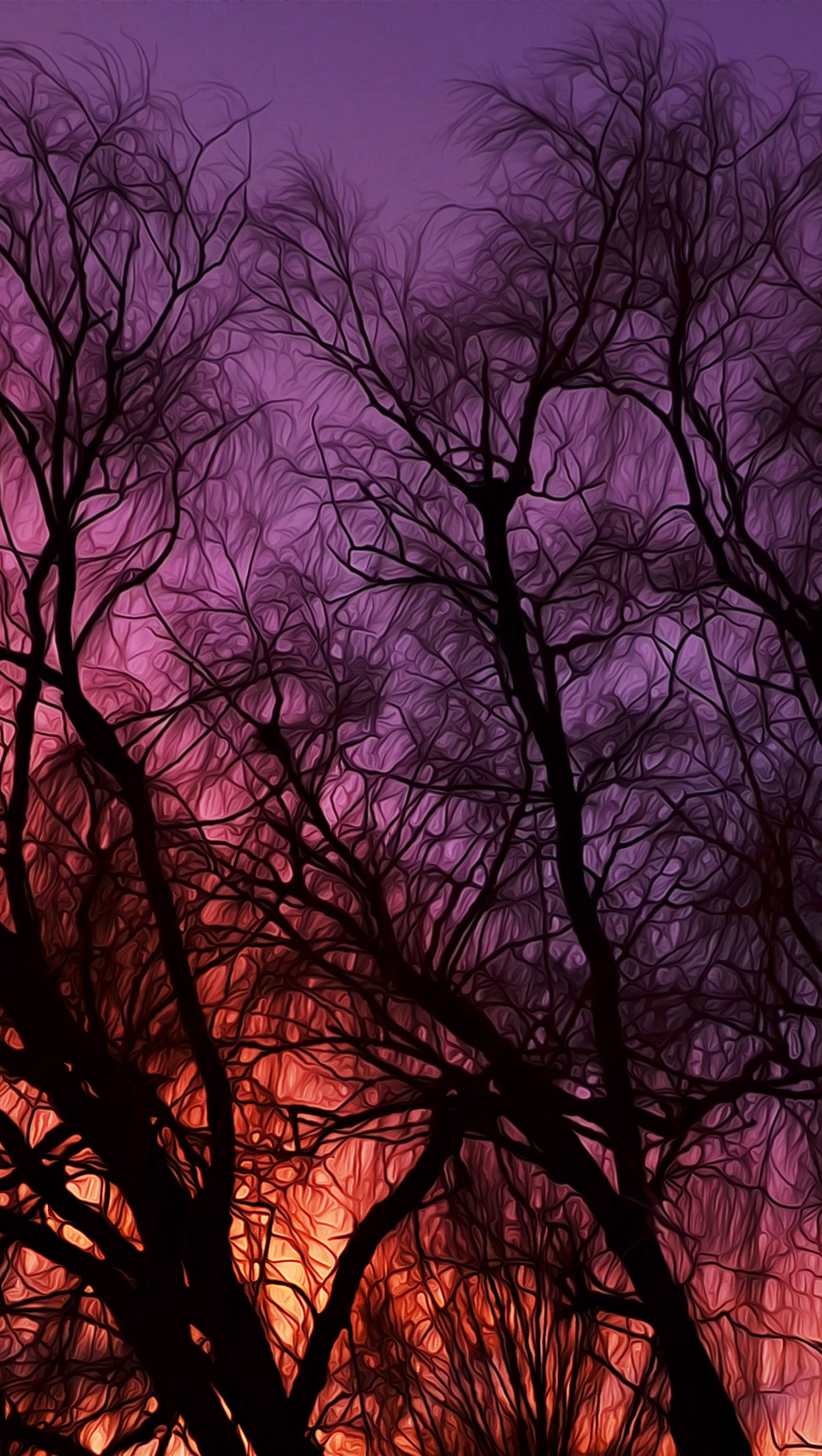 Wallpaper Painting of Tree Branches in the Sunset Vertical