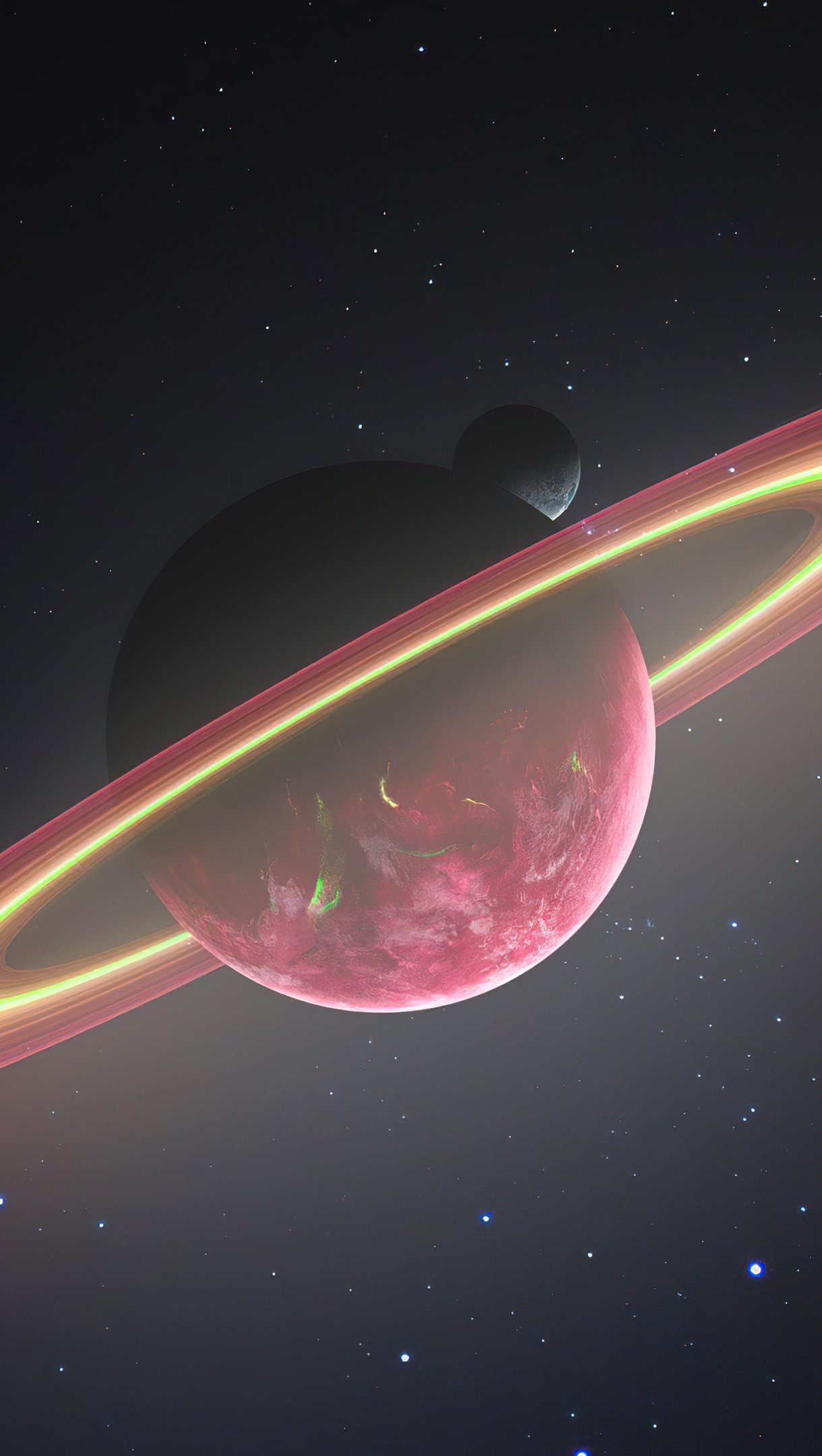 Fondos de pantalla Planeta con anillo y luna Vertical