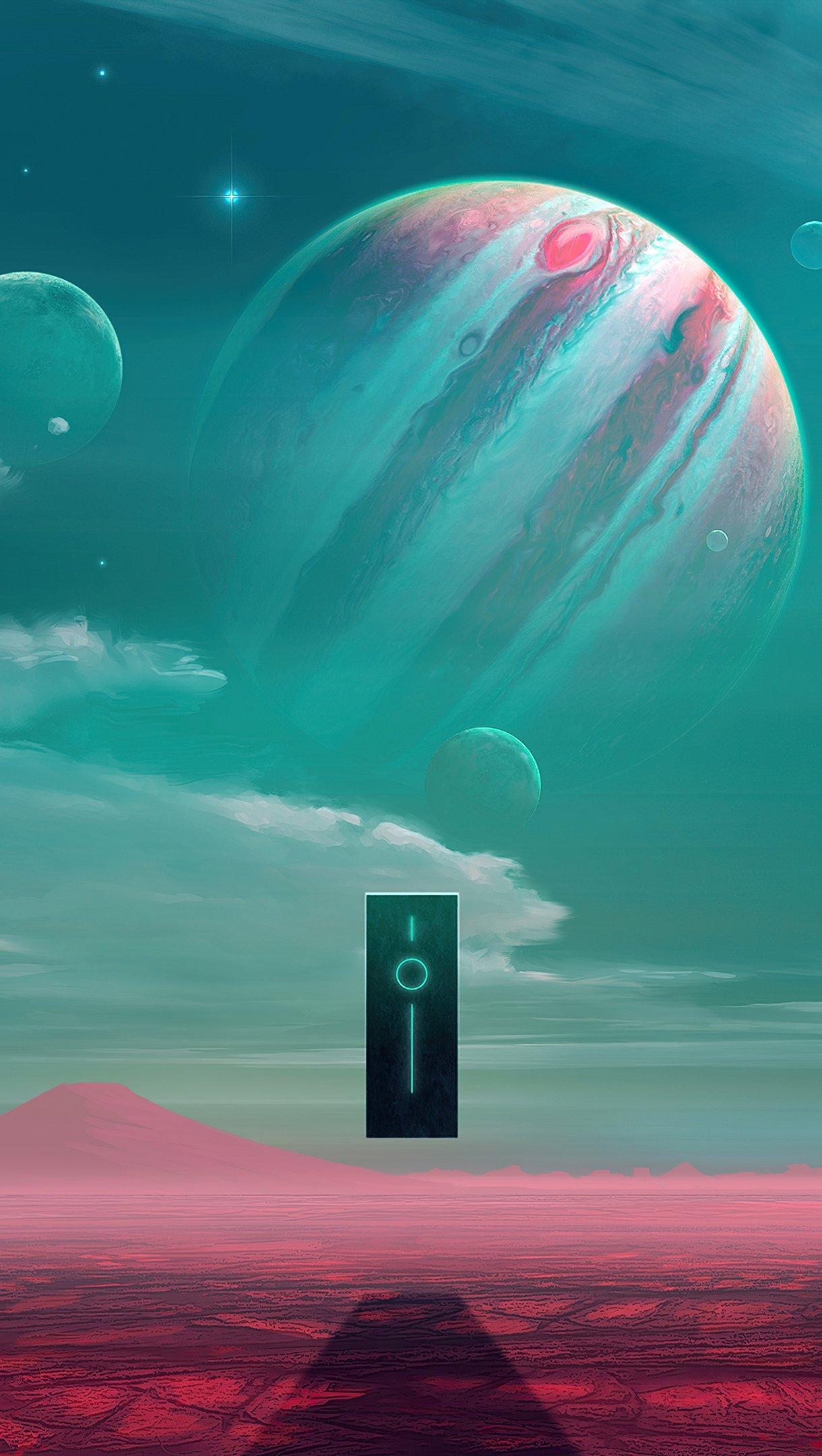 Fondos de pantalla Planeta de ciencia ficción entre estrellas Vertical