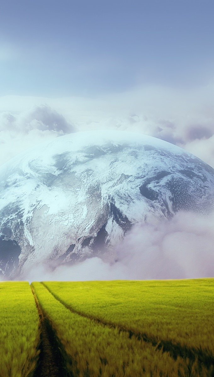 Wallpaper Planet in the field Vertical