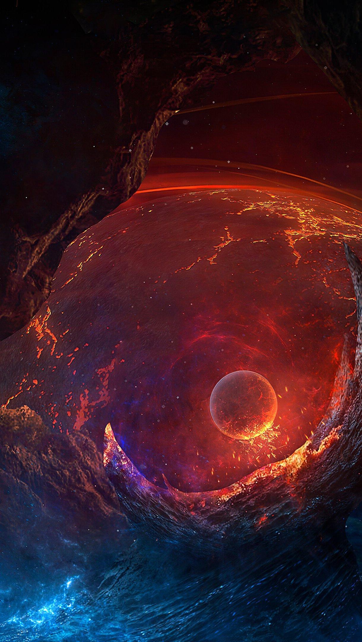 Fondos de pantalla Planeta en el espacio Vertical