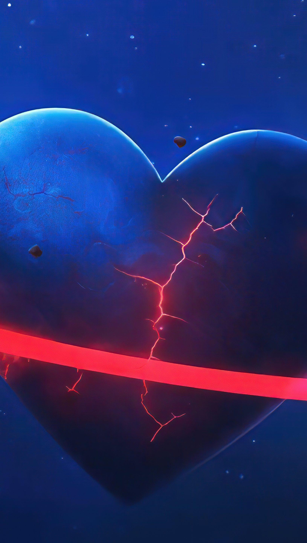 Wallpaper Heart-shaped planet Vertical