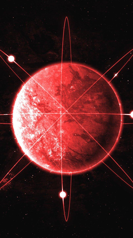 Fondos de pantalla Planeta rojo como atomo Vertical