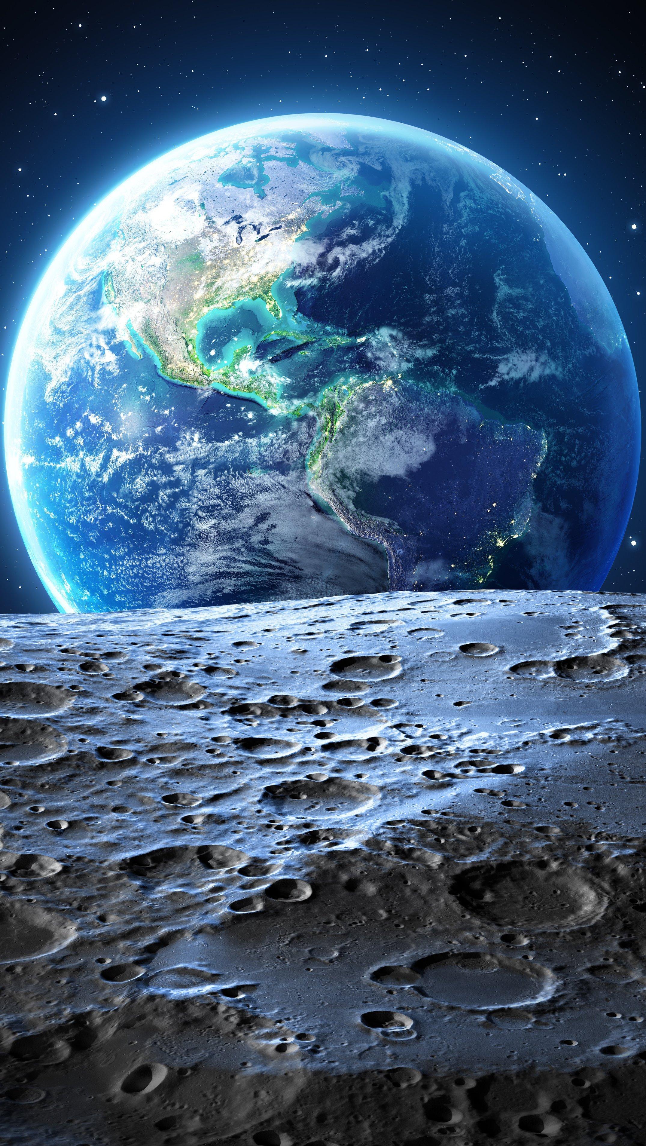 Fondos de pantalla Planeta Tierra vista desde la Luna Vertical