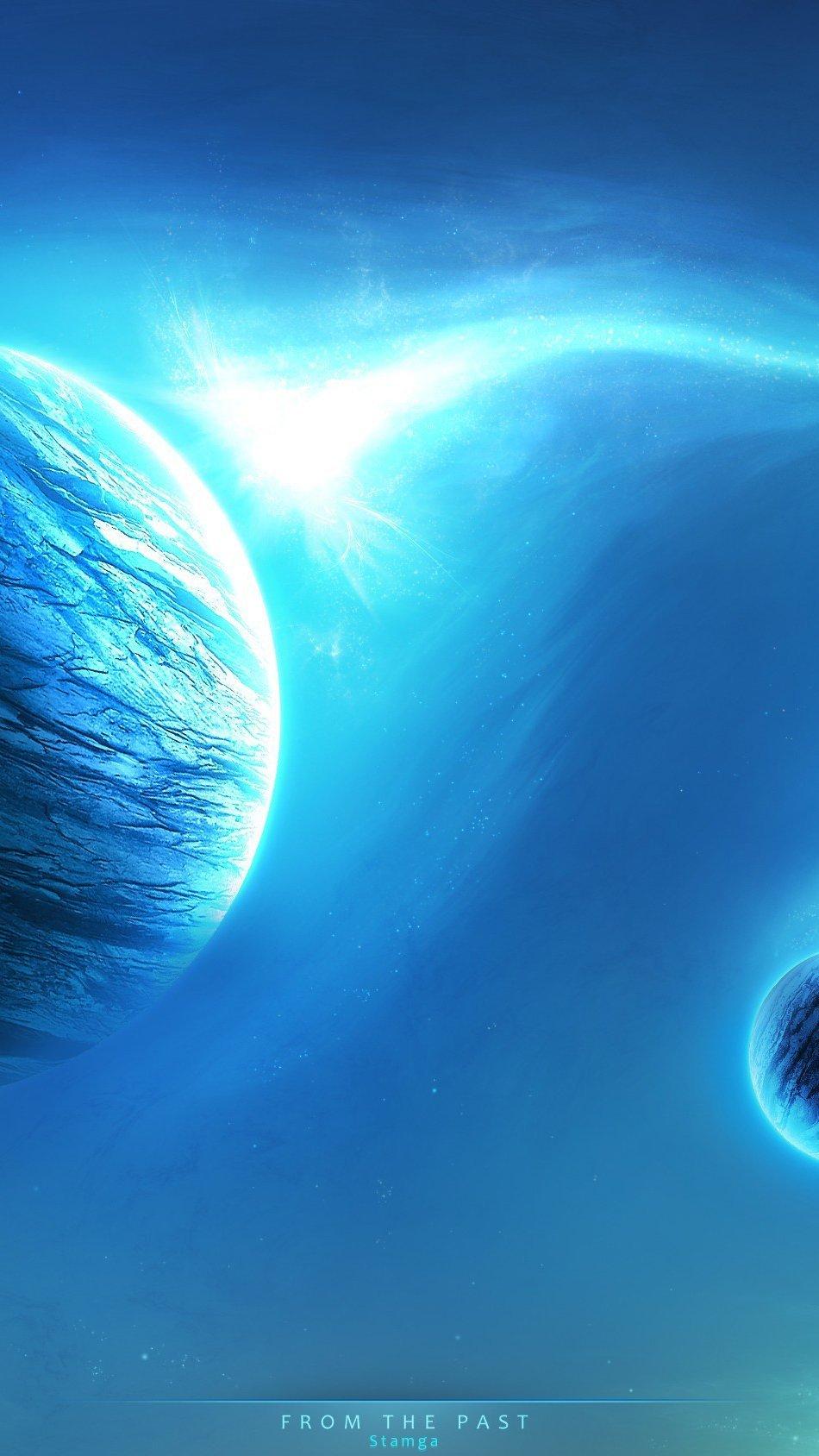 Fondos de pantalla Planetas cían Vertical