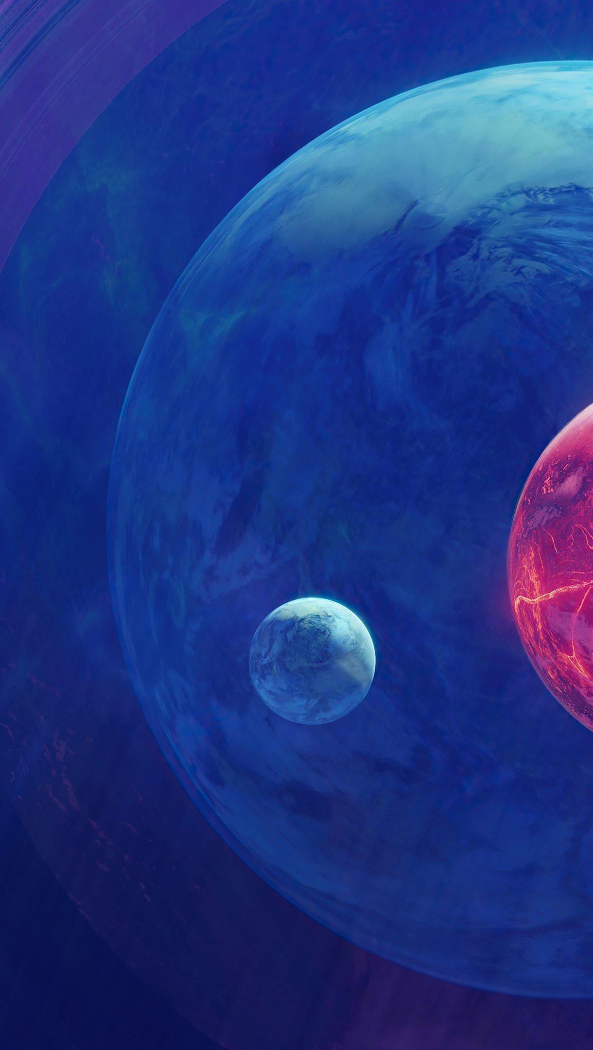 Fondos de pantalla Planetas con lunas Arte Digital Vertical