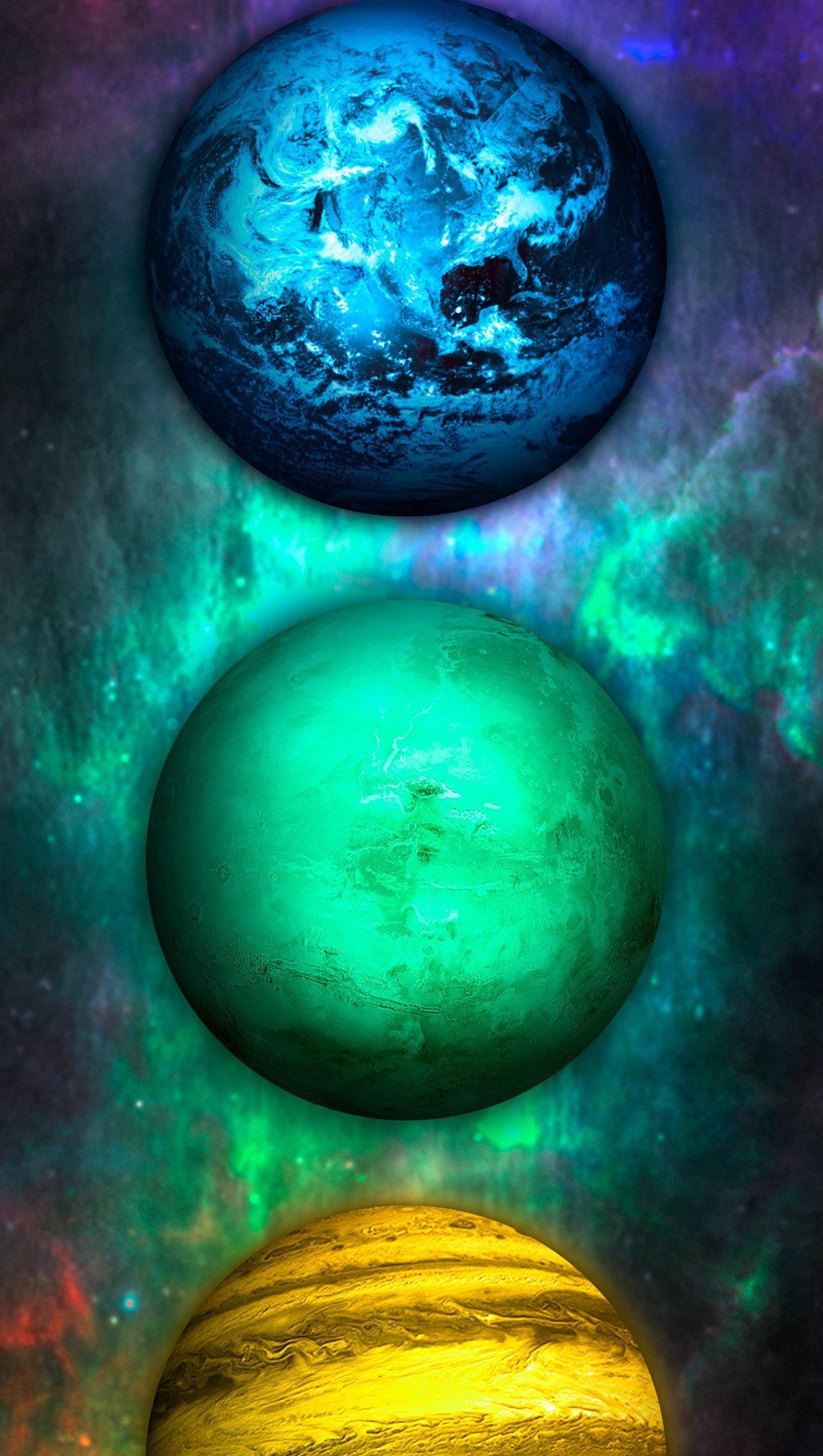 Fondos de pantalla Planetas de diferentes colores Vertical
