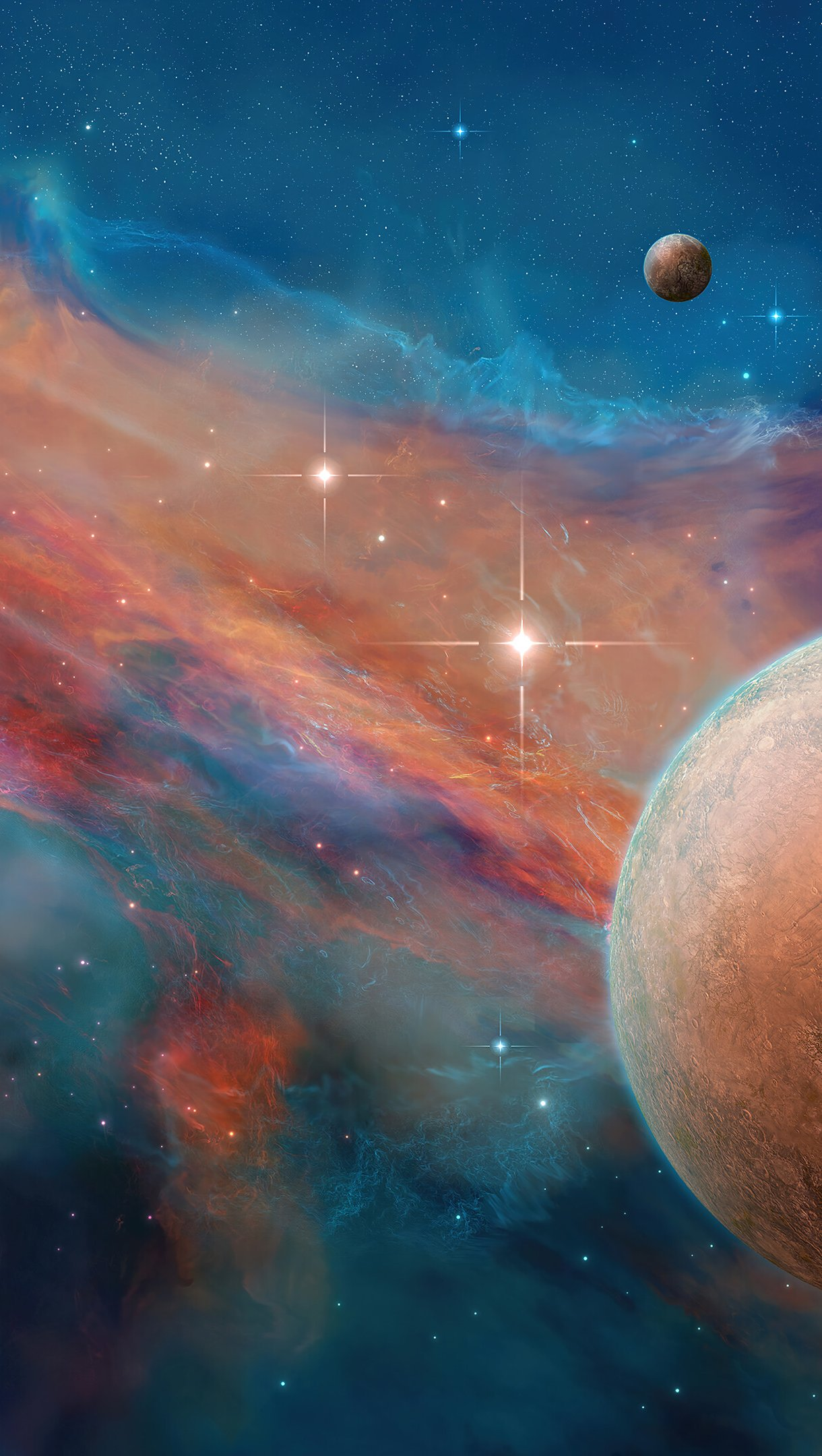 Wallpaper Planets in space with nebulas Vertical